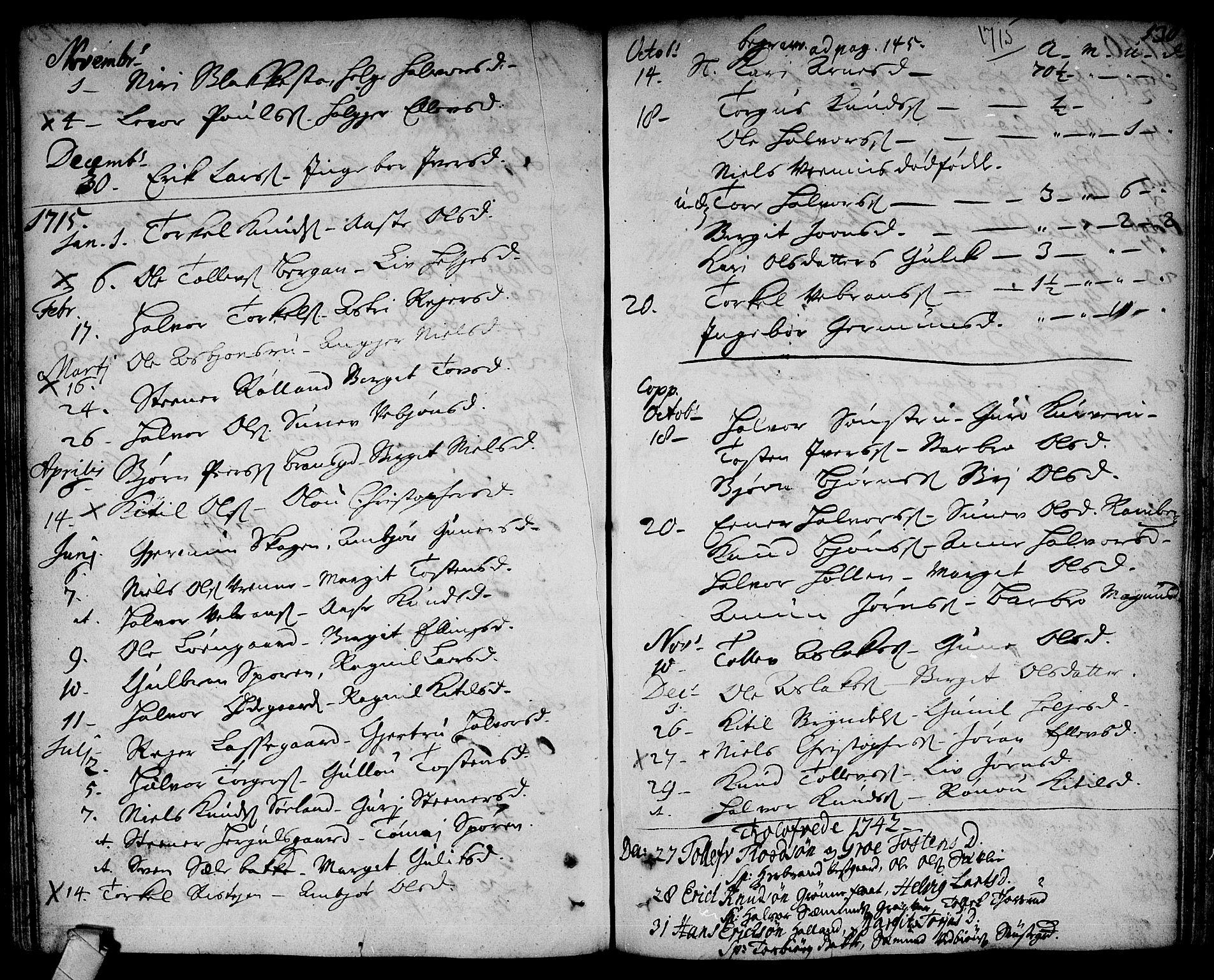 SAKO, Rollag kirkebøker, F/Fa/L0002: Ministerialbok nr. I 2, 1714-1742, s. 130