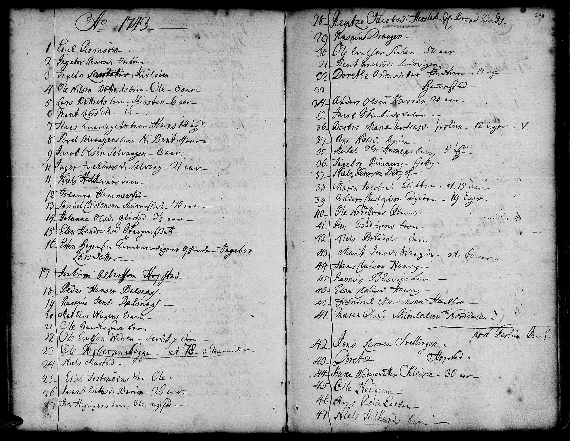 SAT, Ministerialprotokoller, klokkerbøker og fødselsregistre - Sør-Trøndelag, 634/L0525: Ministerialbok nr. 634A01, 1736-1775, s. 218
