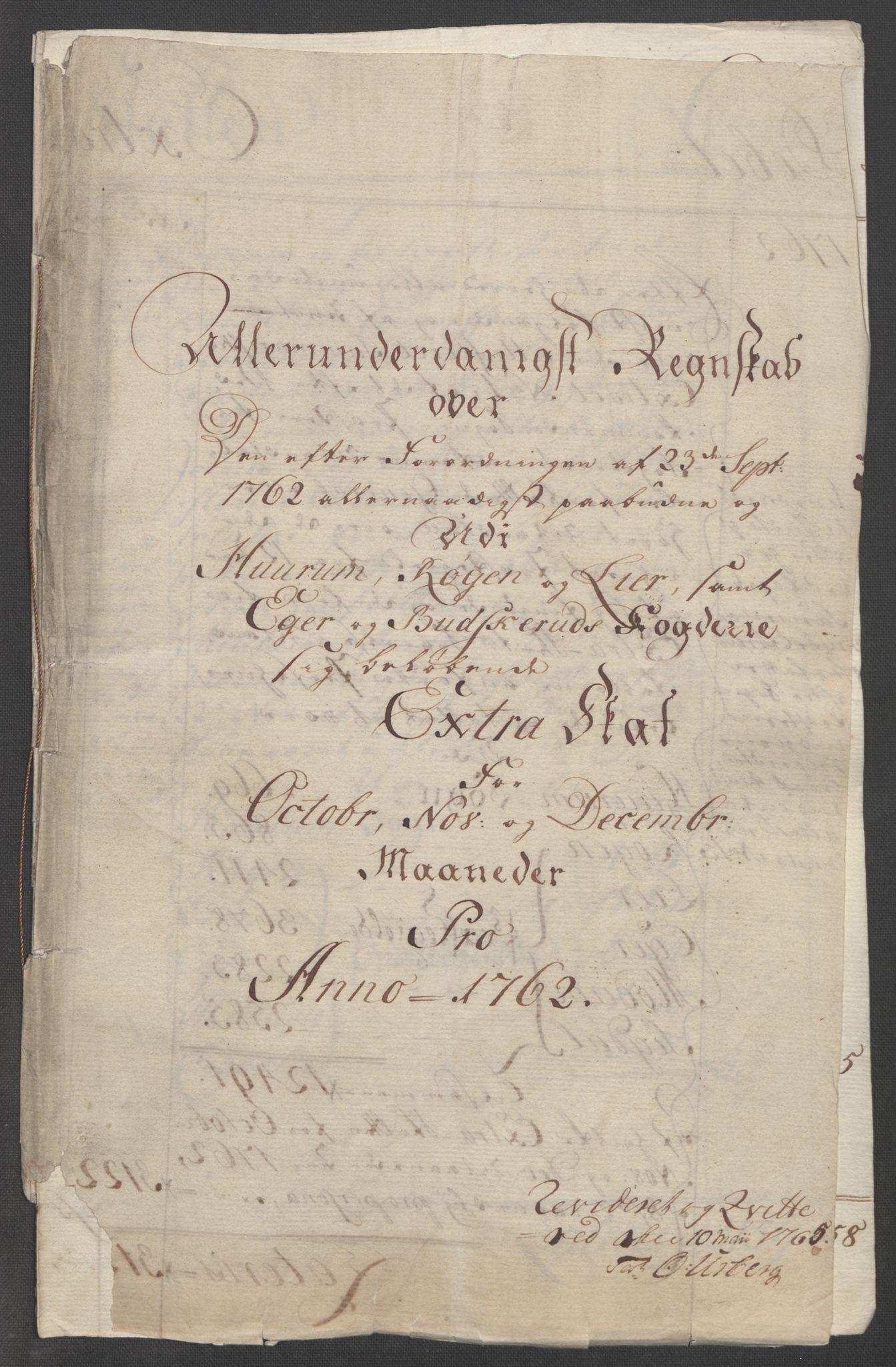 RA, Rentekammeret inntil 1814, Reviderte regnskaper, Fogderegnskap, R31/L1833: Ekstraskatten Hurum, Røyken, Eiker, Lier og Buskerud, 1762-1764, s. 5