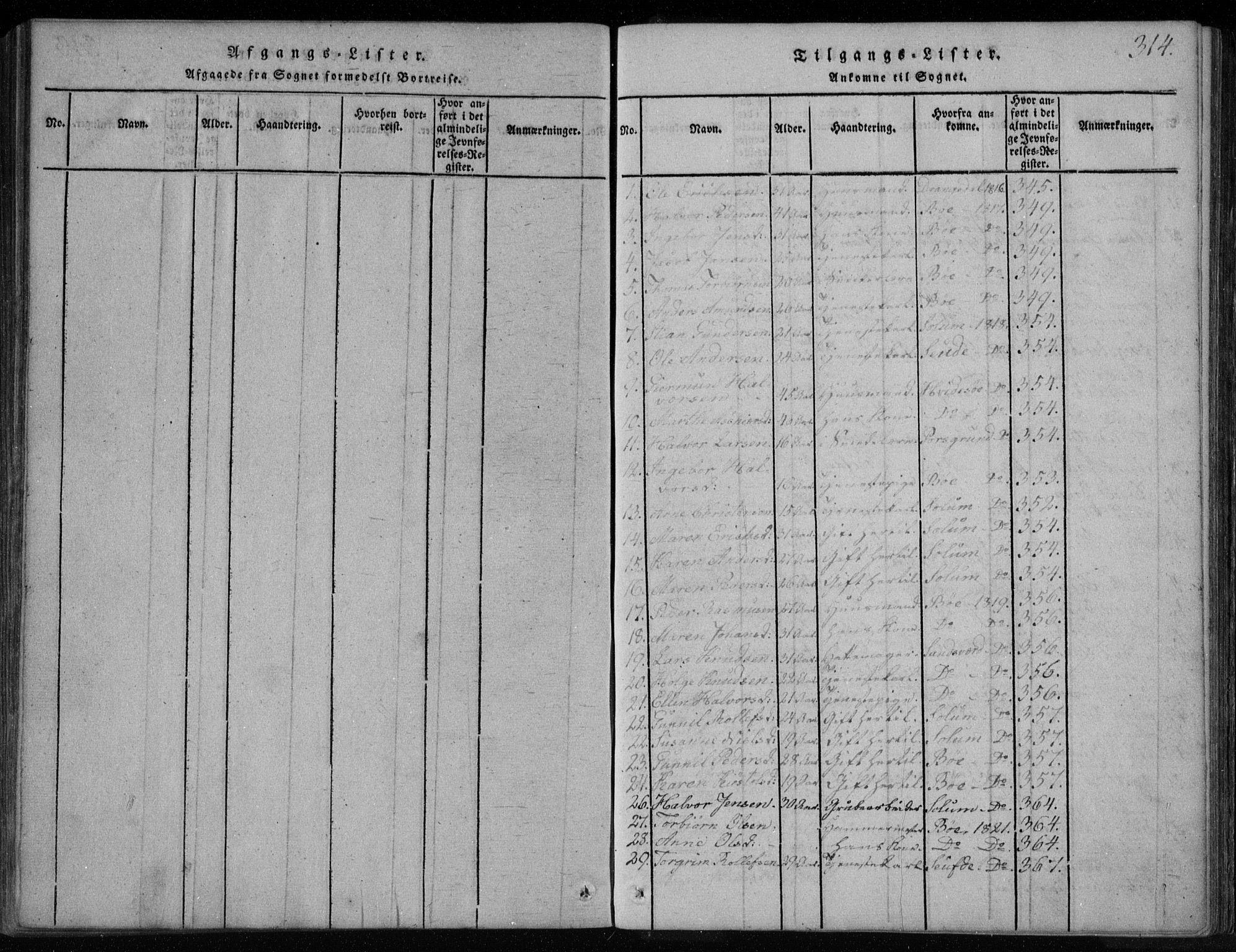 SAKO, Holla kirkebøker, F/Fa/L0003: Ministerialbok nr. 3, 1815-1830, s. 314