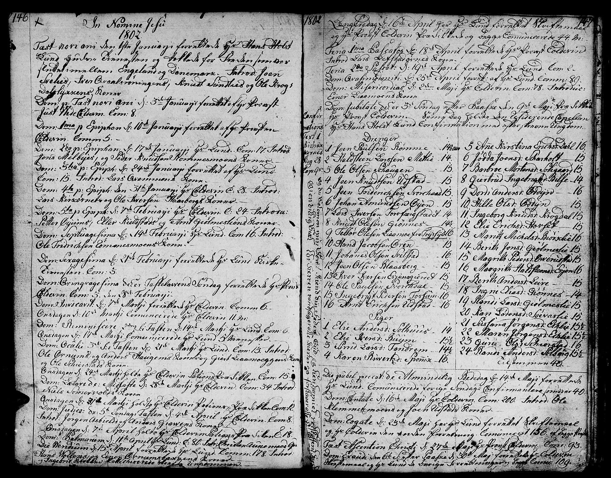 SAT, Ministerialprotokoller, klokkerbøker og fødselsregistre - Sør-Trøndelag, 668/L0815: Klokkerbok nr. 668C04, 1791-1815, s. 146-147