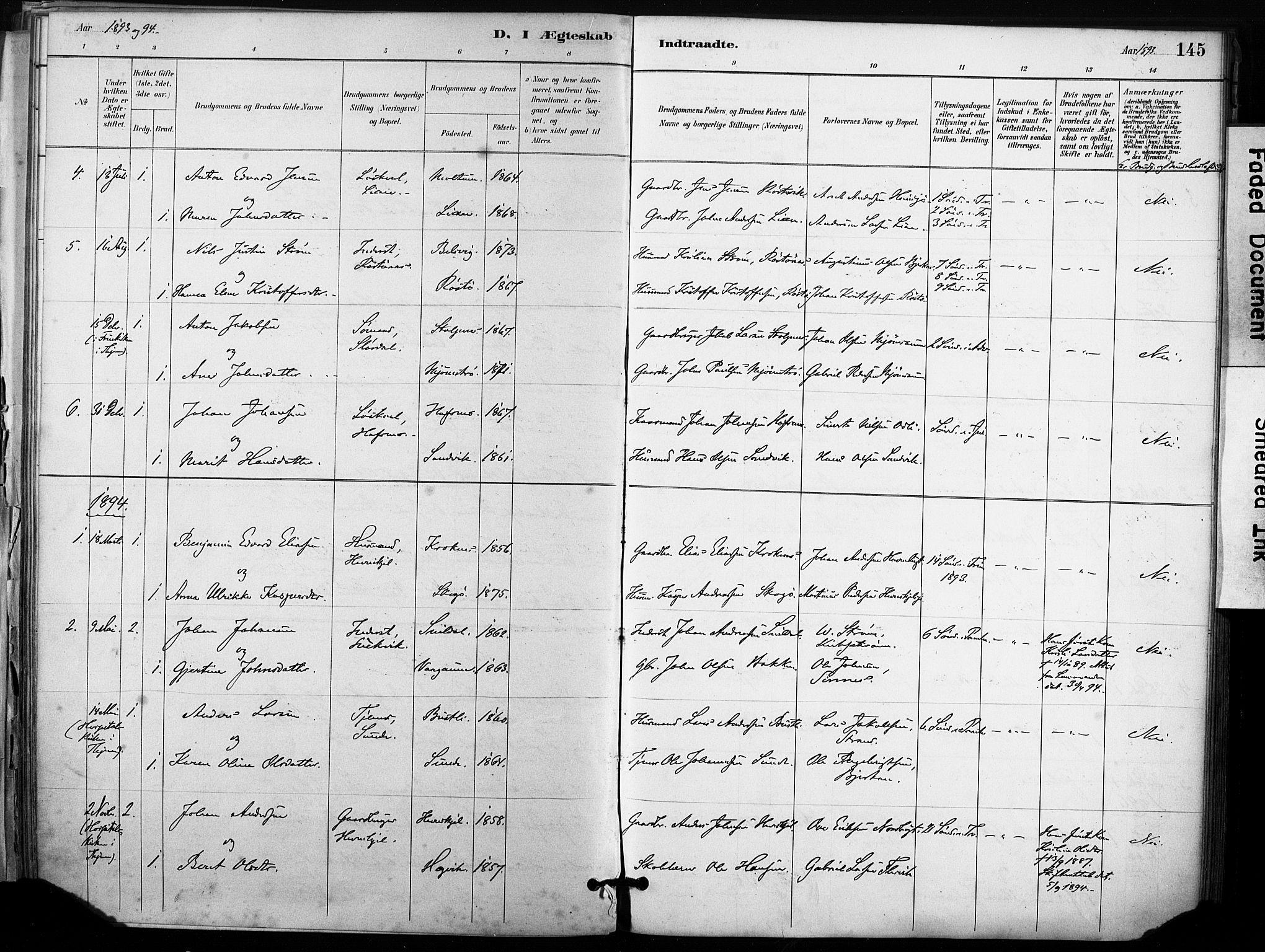 SAT, Ministerialprotokoller, klokkerbøker og fødselsregistre - Sør-Trøndelag, 633/L0518: Ministerialbok nr. 633A01, 1884-1906, s. 145