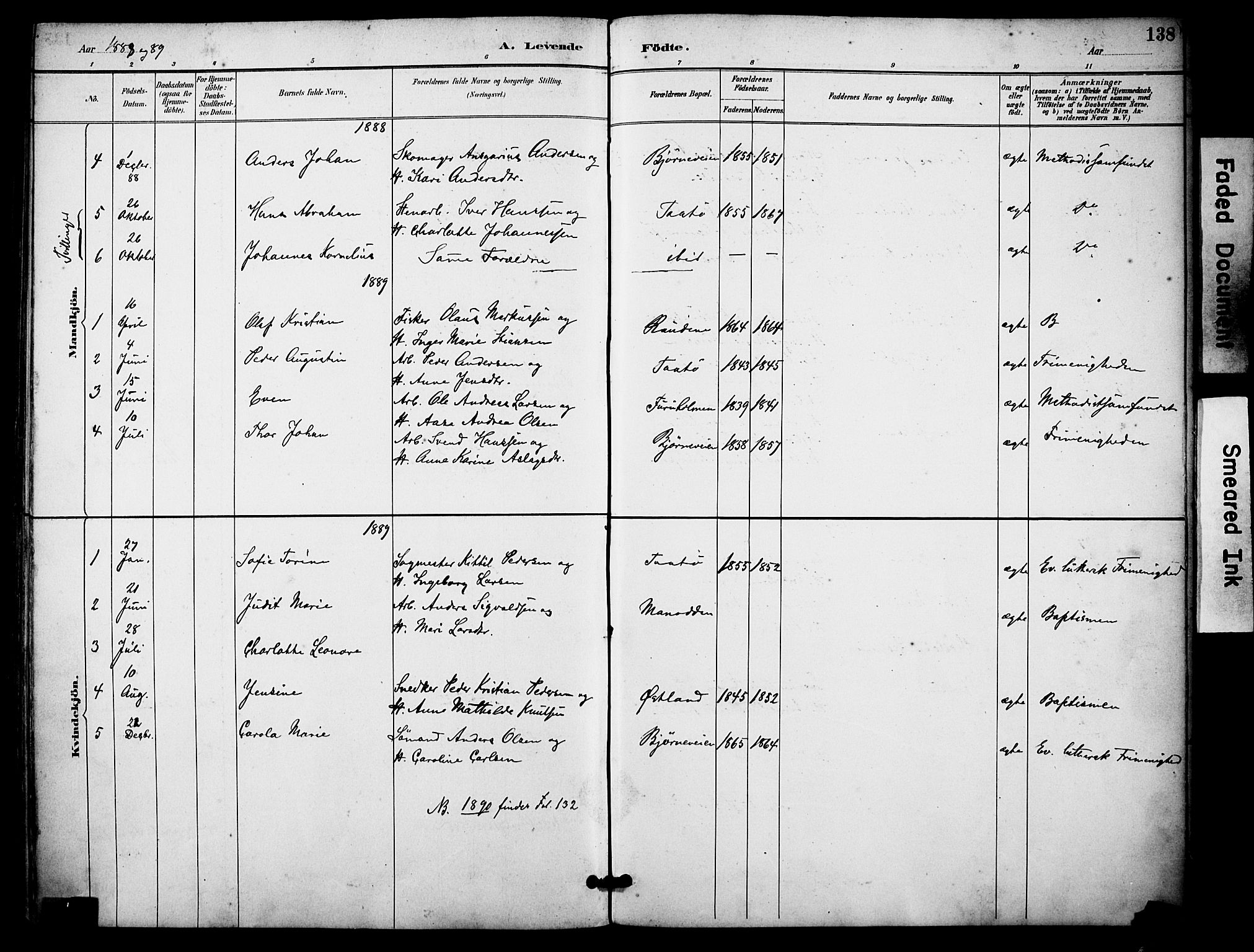 SAKO, Skåtøy kirkebøker, F/Fa/L0002: Ministerialbok nr. I 2, 1884-1899, s. 138