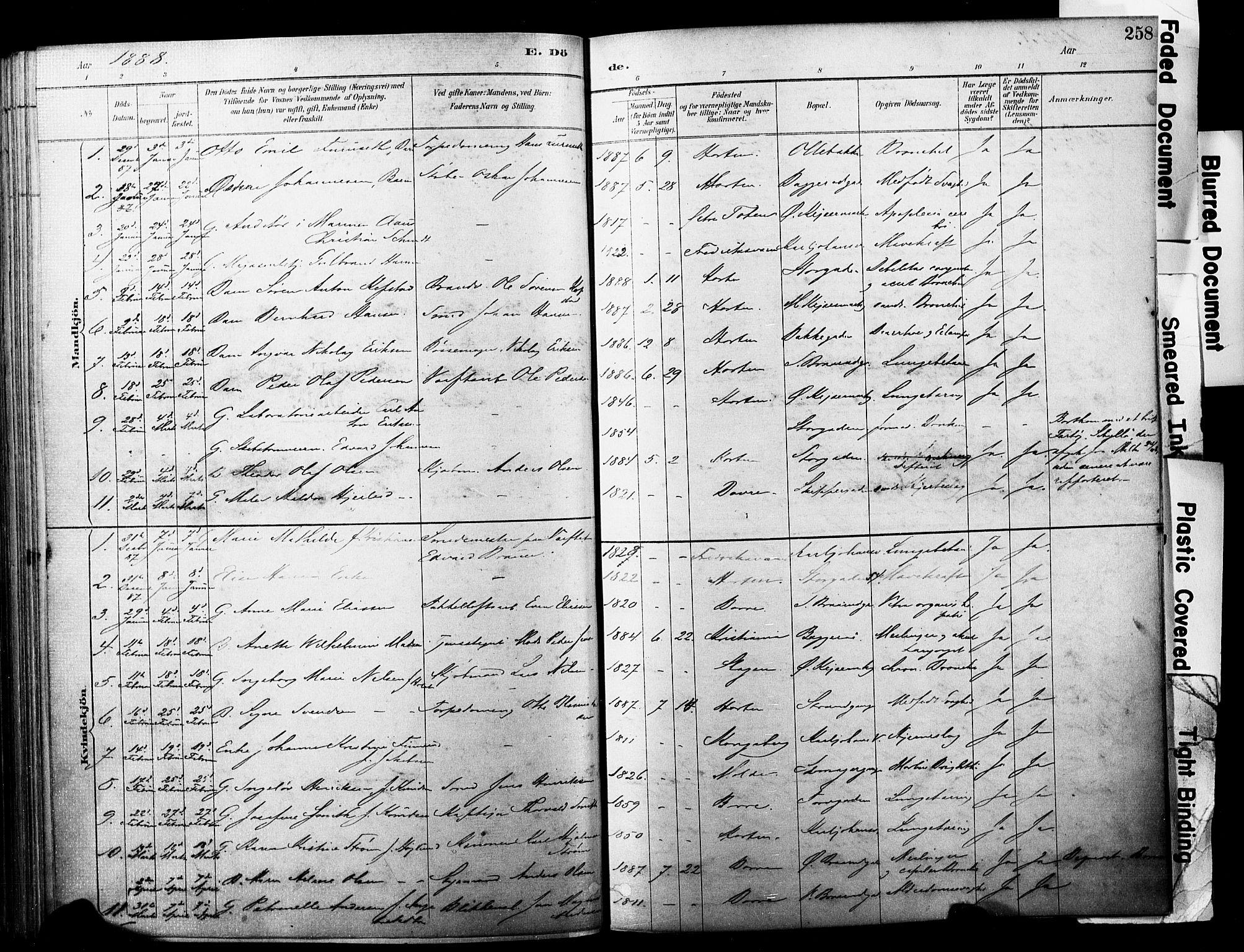 SAKO, Horten kirkebøker, F/Fa/L0004: Ministerialbok nr. 4, 1888-1895, s. 258