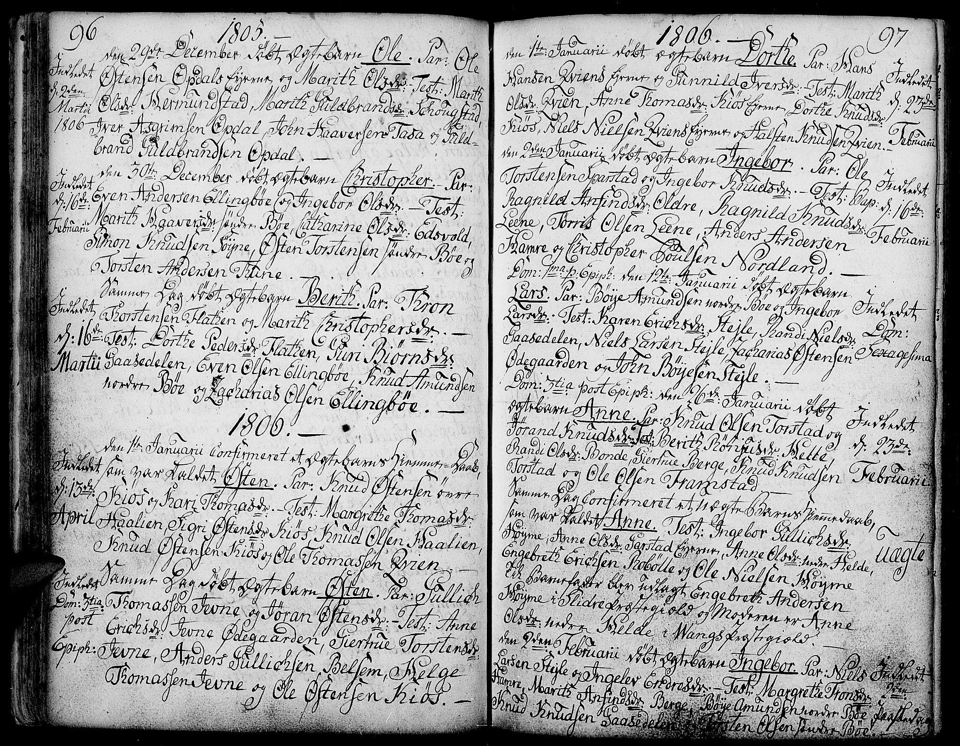 SAH, Vang prestekontor, Valdres, Ministerialbok nr. 2, 1796-1808, s. 96-97