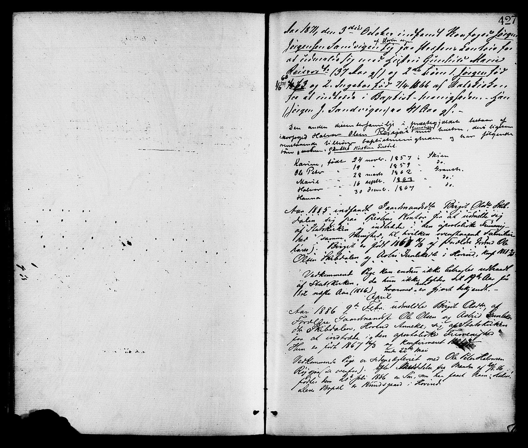 SAKO, Gransherad kirkebøker, F/Fa/L0004: Ministerialbok nr. I 4, 1871-1886, s. 427