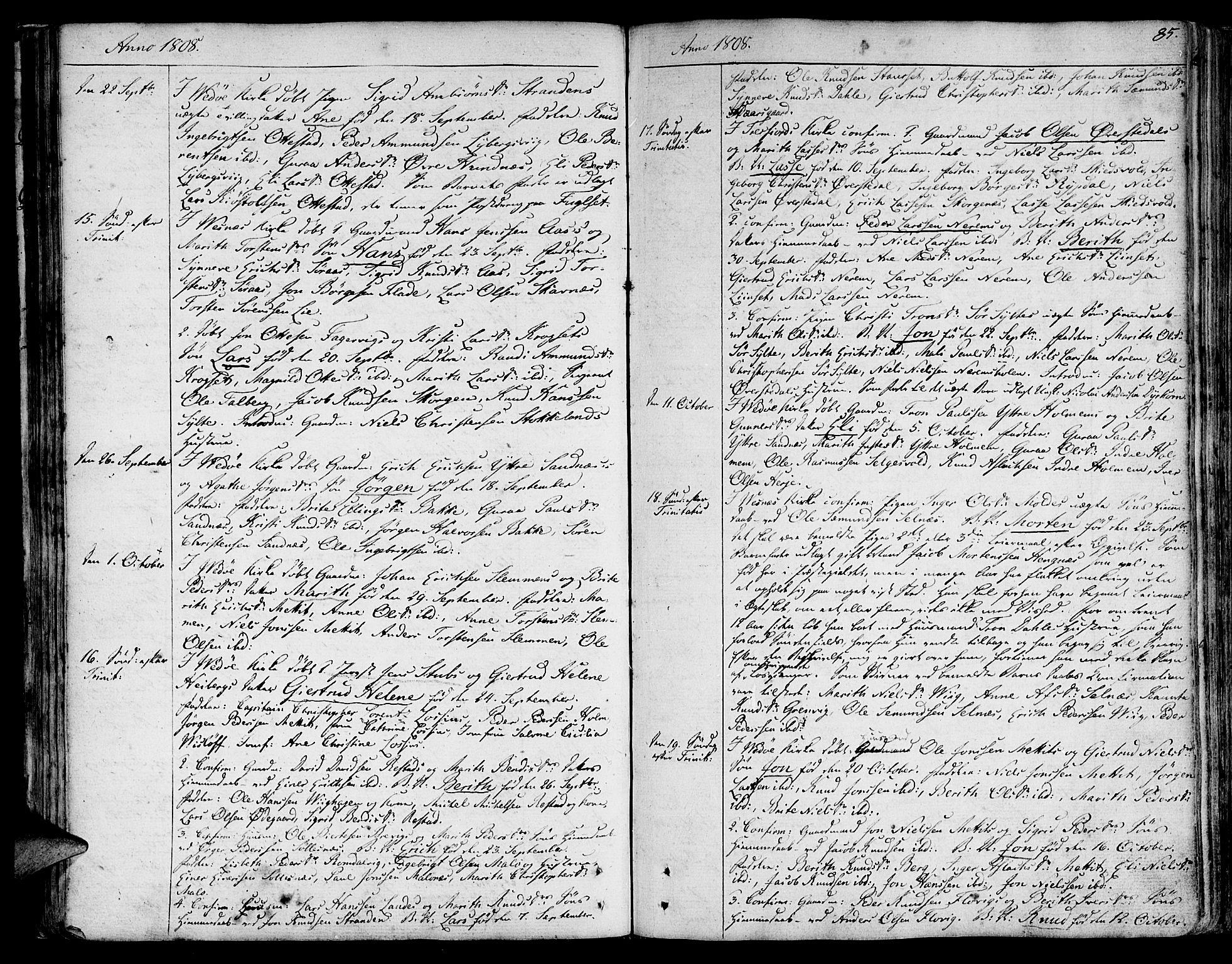 SAT, Ministerialprotokoller, klokkerbøker og fødselsregistre - Møre og Romsdal, 547/L0601: Ministerialbok nr. 547A03, 1799-1818, s. 85