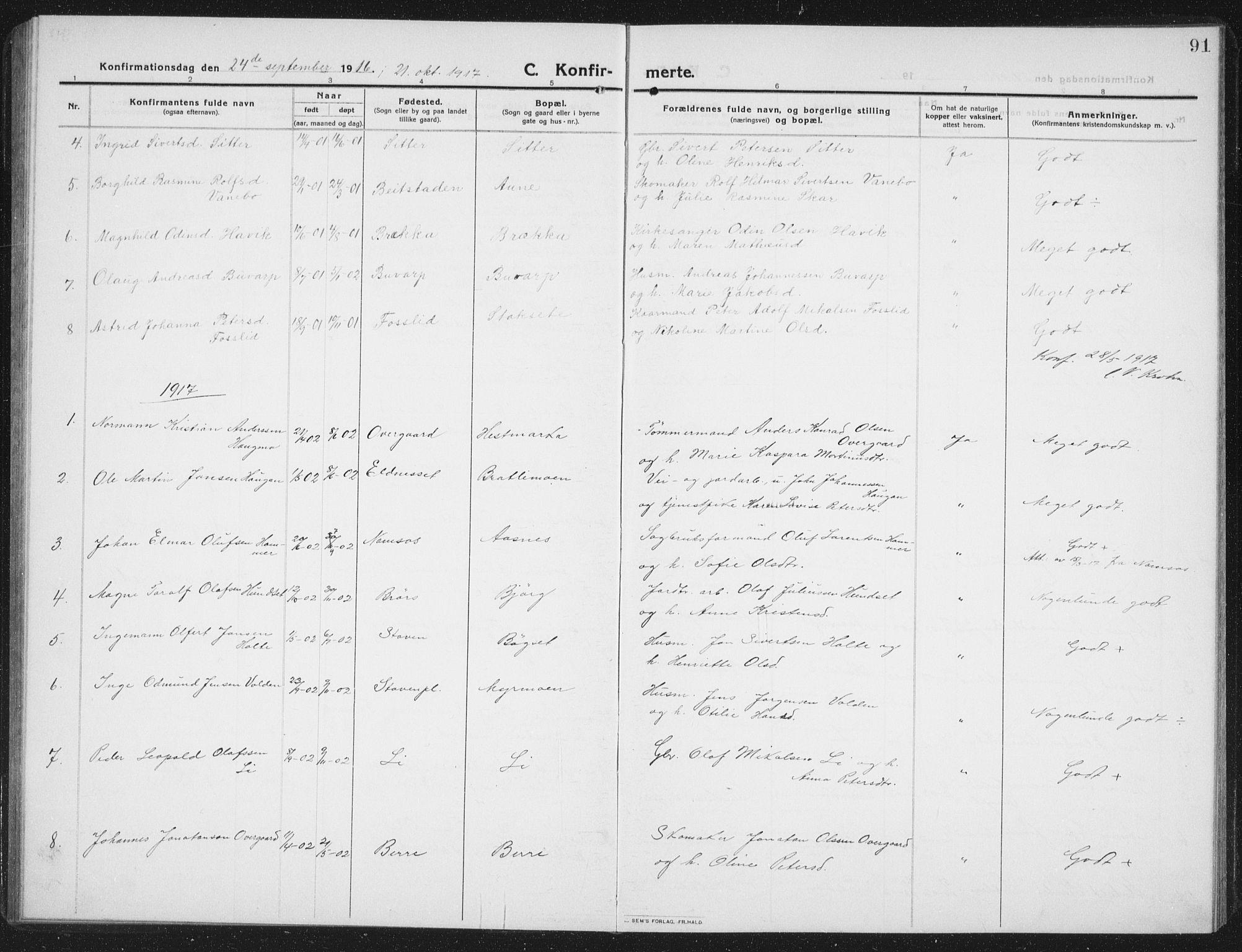 SAT, Ministerialprotokoller, klokkerbøker og fødselsregistre - Nord-Trøndelag, 742/L0413: Klokkerbok nr. 742C04, 1911-1938, s. 91