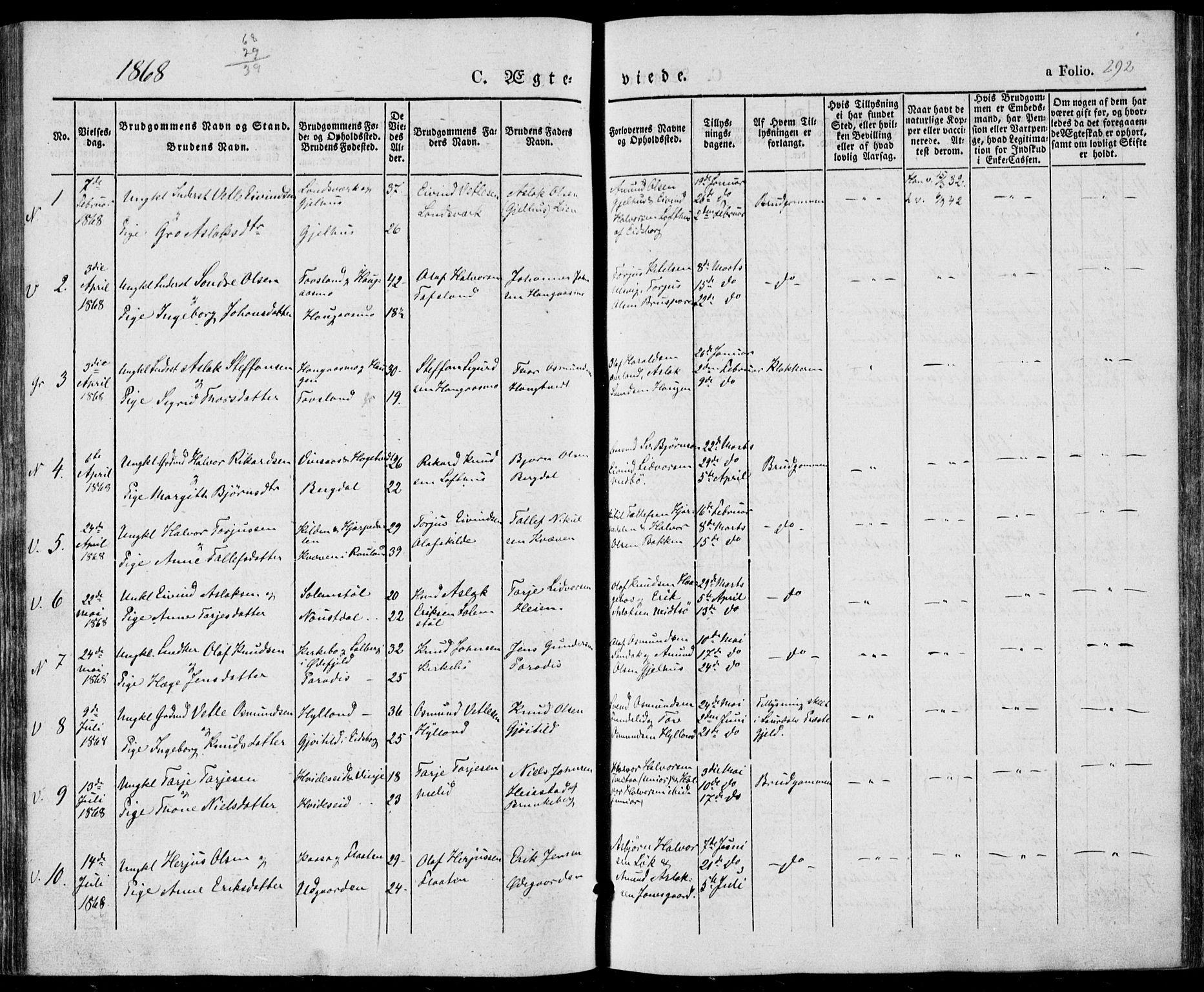SAKO, Vinje kirkebøker, F/Fa/L0004: Ministerialbok nr. I 4, 1843-1869, s. 292