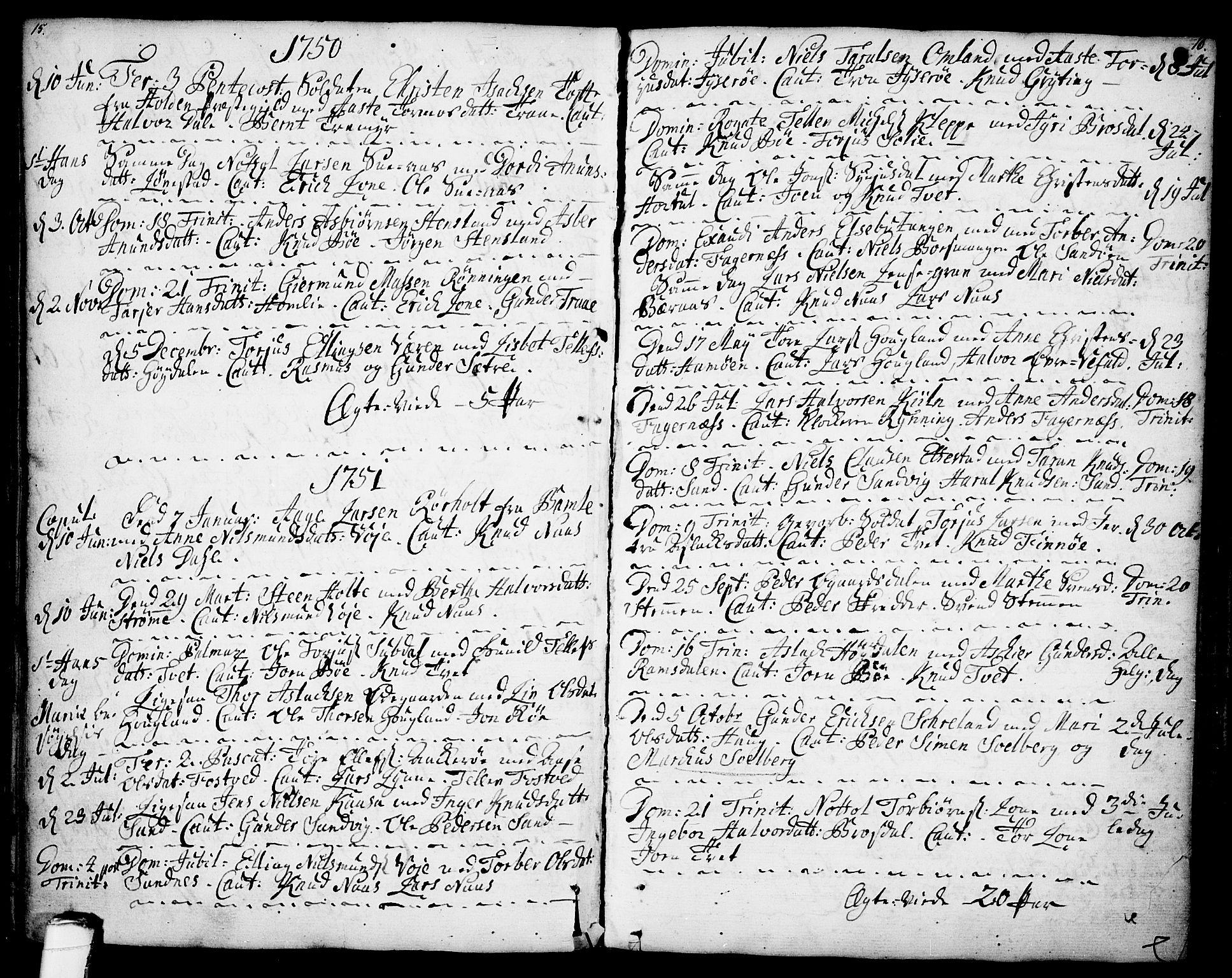 SAKO, Drangedal kirkebøker, F/Fa/L0001: Ministerialbok nr. 1, 1697-1767, s. 15-16