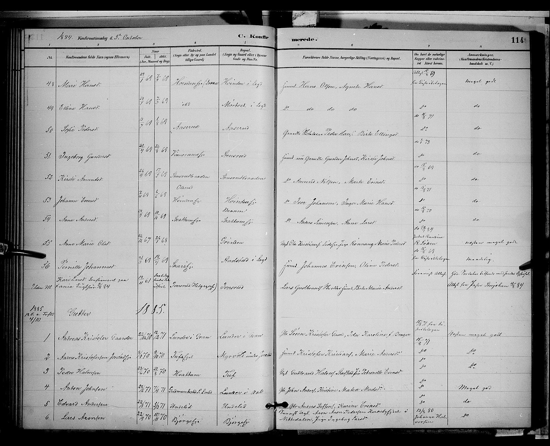 SAH, Gran prestekontor, Klokkerbok nr. 2, 1879-1892, s. 114
