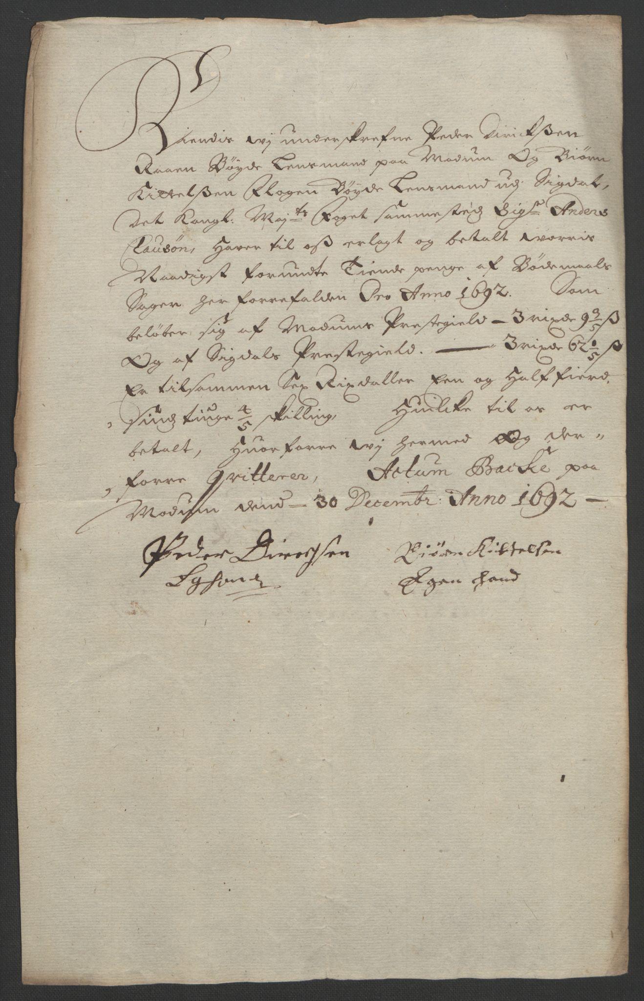 RA, Rentekammeret inntil 1814, Reviderte regnskaper, Fogderegnskap, R25/L1681: Fogderegnskap Buskerud, 1691-1692, s. 493