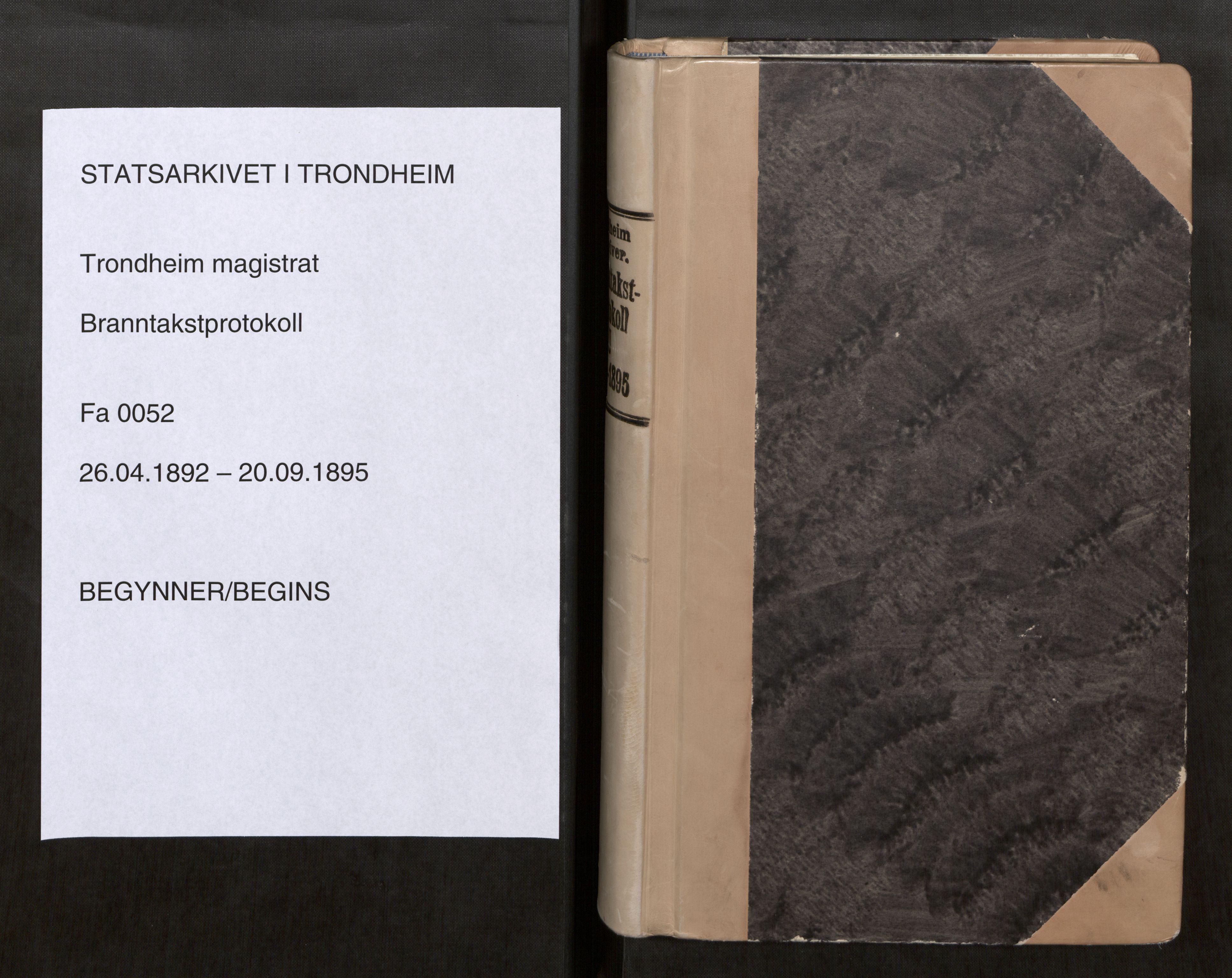 SAT, Norges Brannkasse Trondheim magistrat, Fa/L0056: Branntakstprotokoll U, 1892-1895
