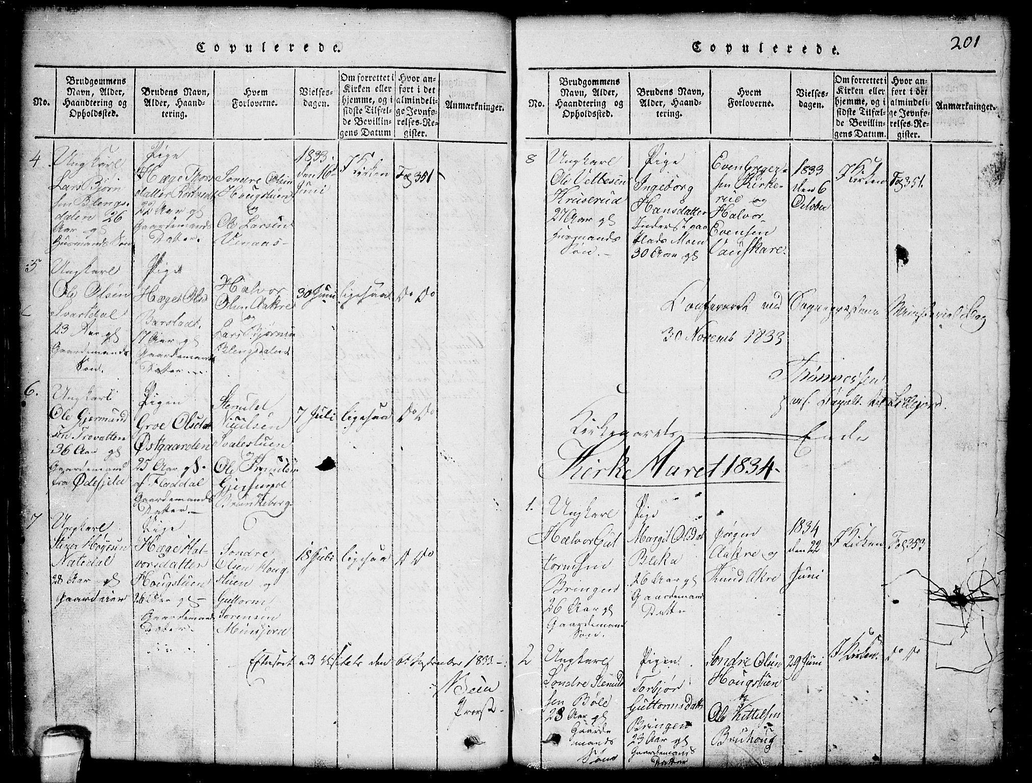 SAKO, Seljord kirkebøker, G/Gb/L0002: Klokkerbok nr. II 2, 1815-1854, s. 201