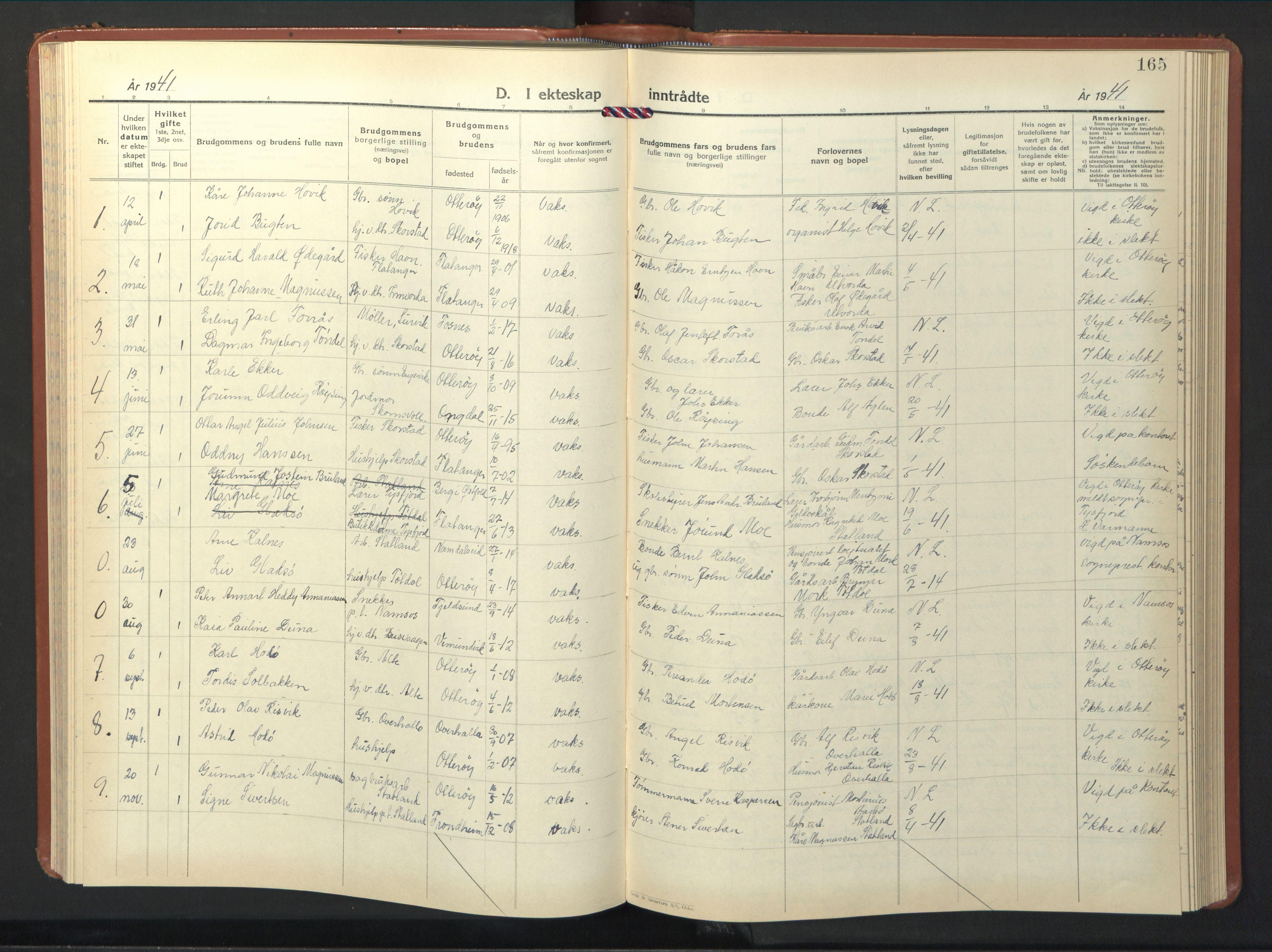 SAT, Ministerialprotokoller, klokkerbøker og fødselsregistre - Nord-Trøndelag, 774/L0631: Klokkerbok nr. 774C02, 1934-1950, s. 165