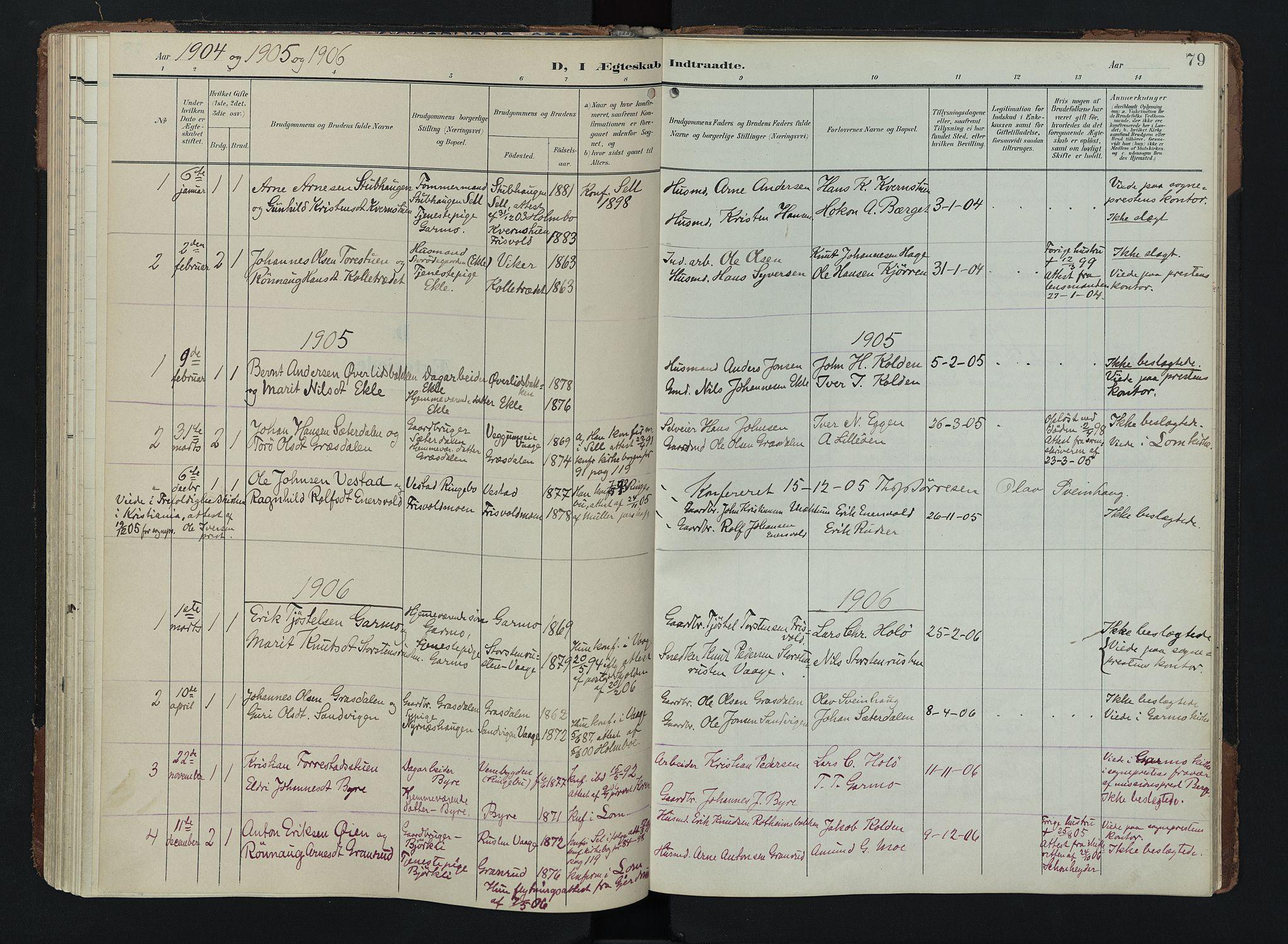 SAH, Lom prestekontor, K/L0011: Ministerialbok nr. 11, 1904-1928, s. 79