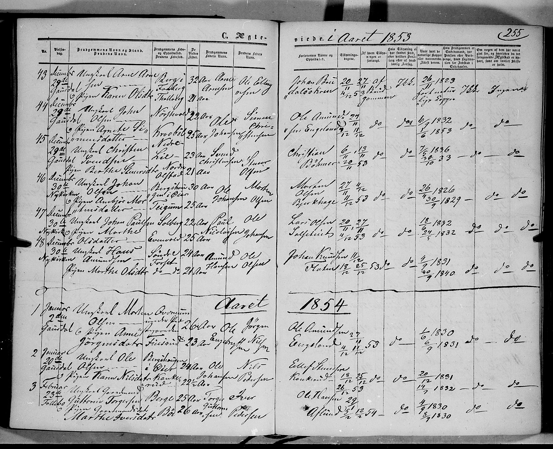 SAH, Gausdal prestekontor, Ministerialbok nr. 8, 1850-1861, s. 255