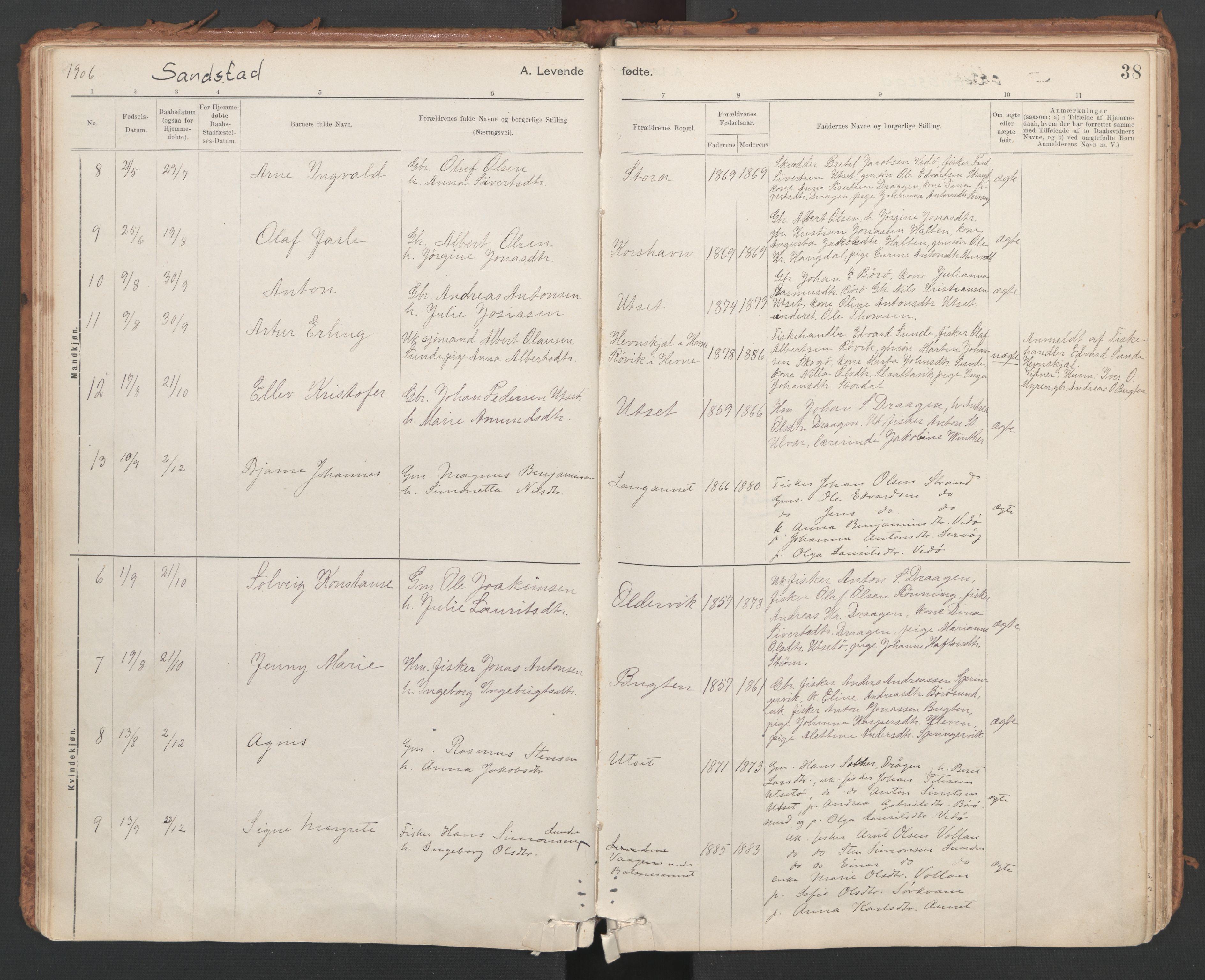 SAT, Ministerialprotokoller, klokkerbøker og fødselsregistre - Sør-Trøndelag, 639/L0572: Ministerialbok nr. 639A01, 1890-1920, s. 38