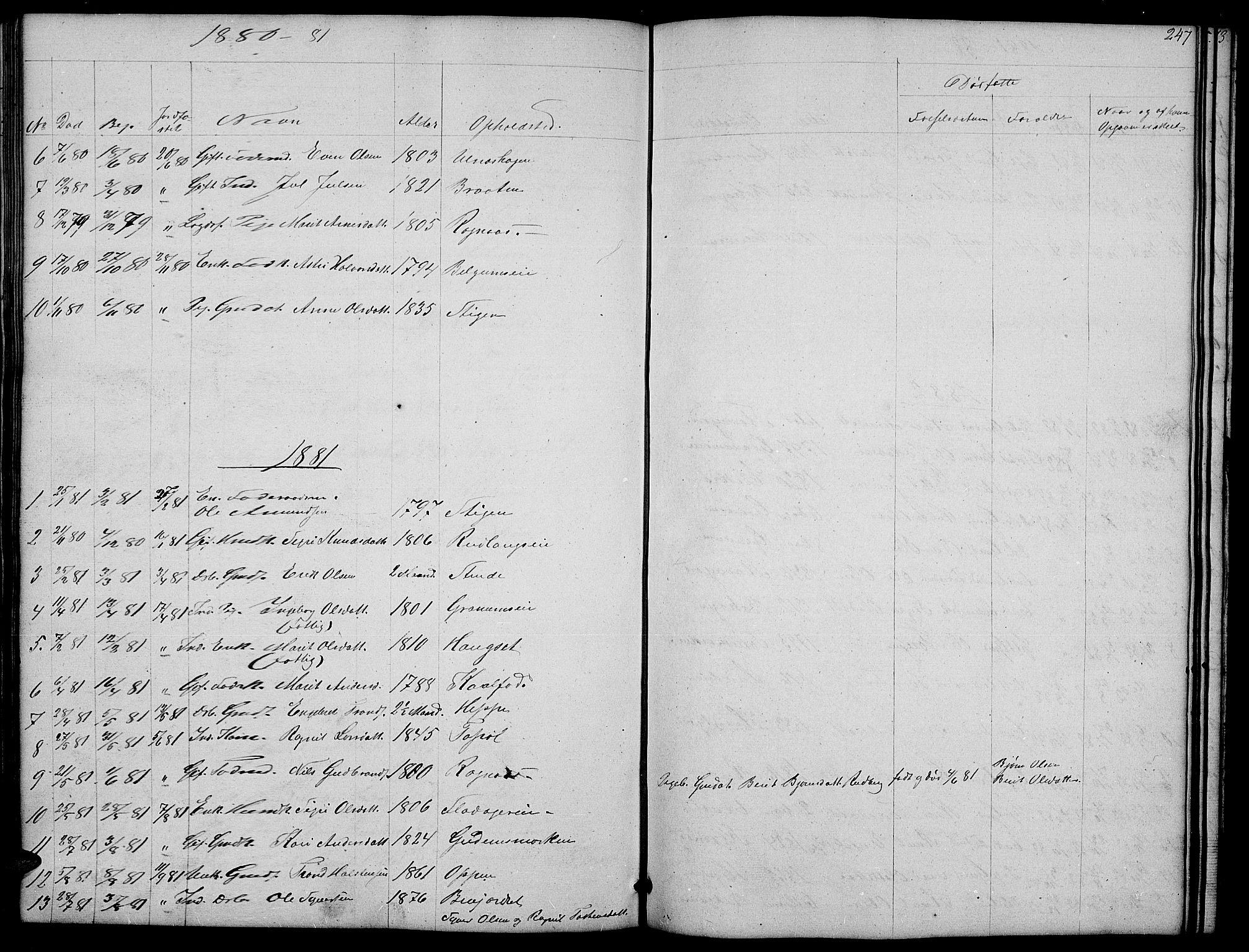 SAH, Nord-Aurdal prestekontor, Klokkerbok nr. 4, 1842-1882, s. 247