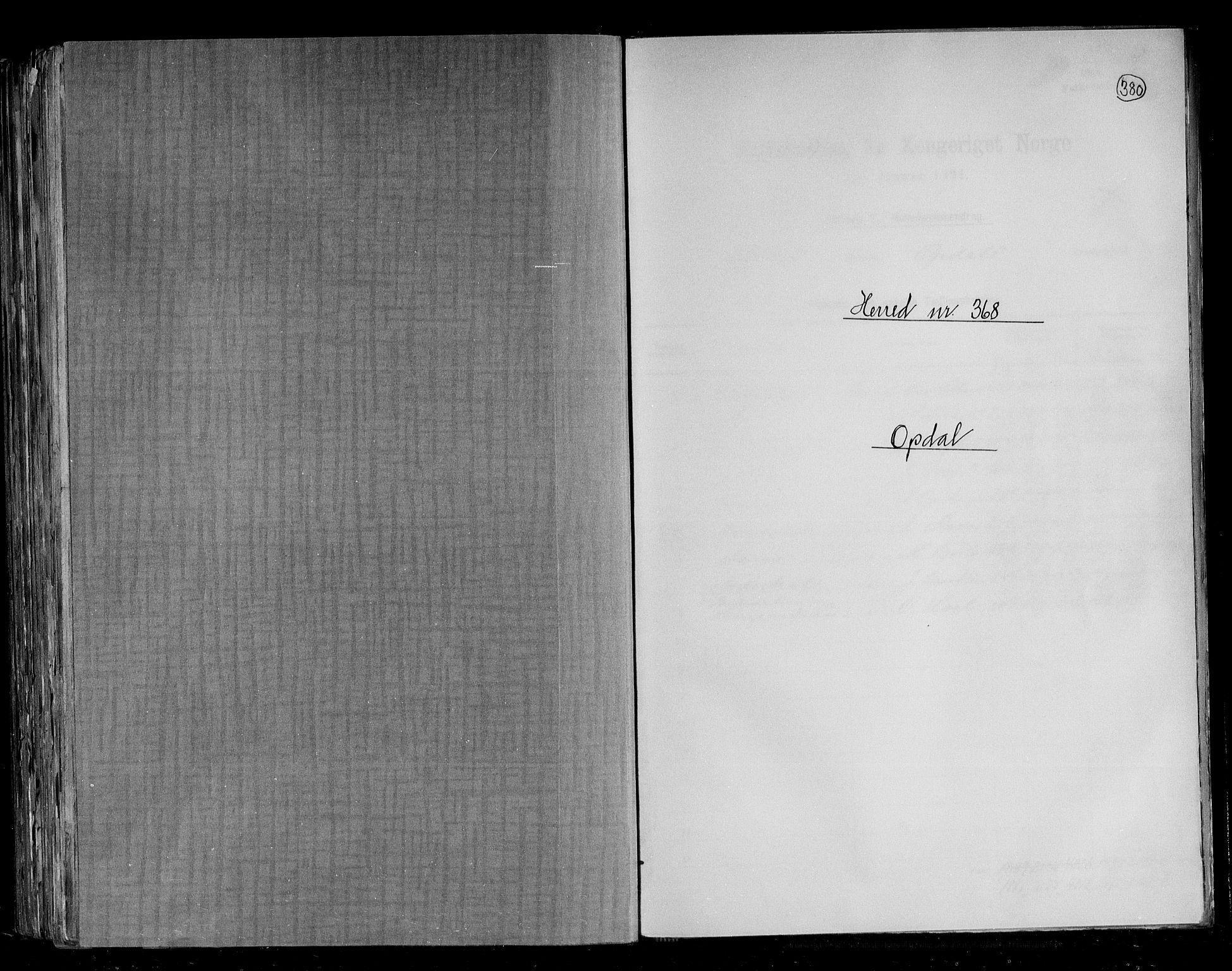 RA, Folketelling 1891 for 1634 Oppdal herred, 1891, s. 1