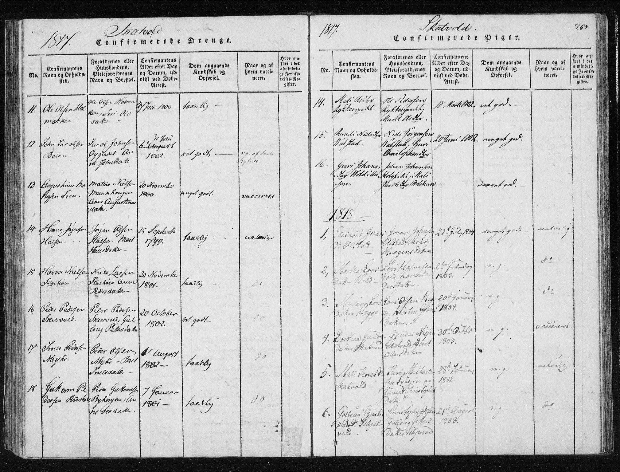 SAT, Ministerialprotokoller, klokkerbøker og fødselsregistre - Nord-Trøndelag, 709/L0061: Ministerialbok nr. 709A08 /2, 1815-1819, s. 263