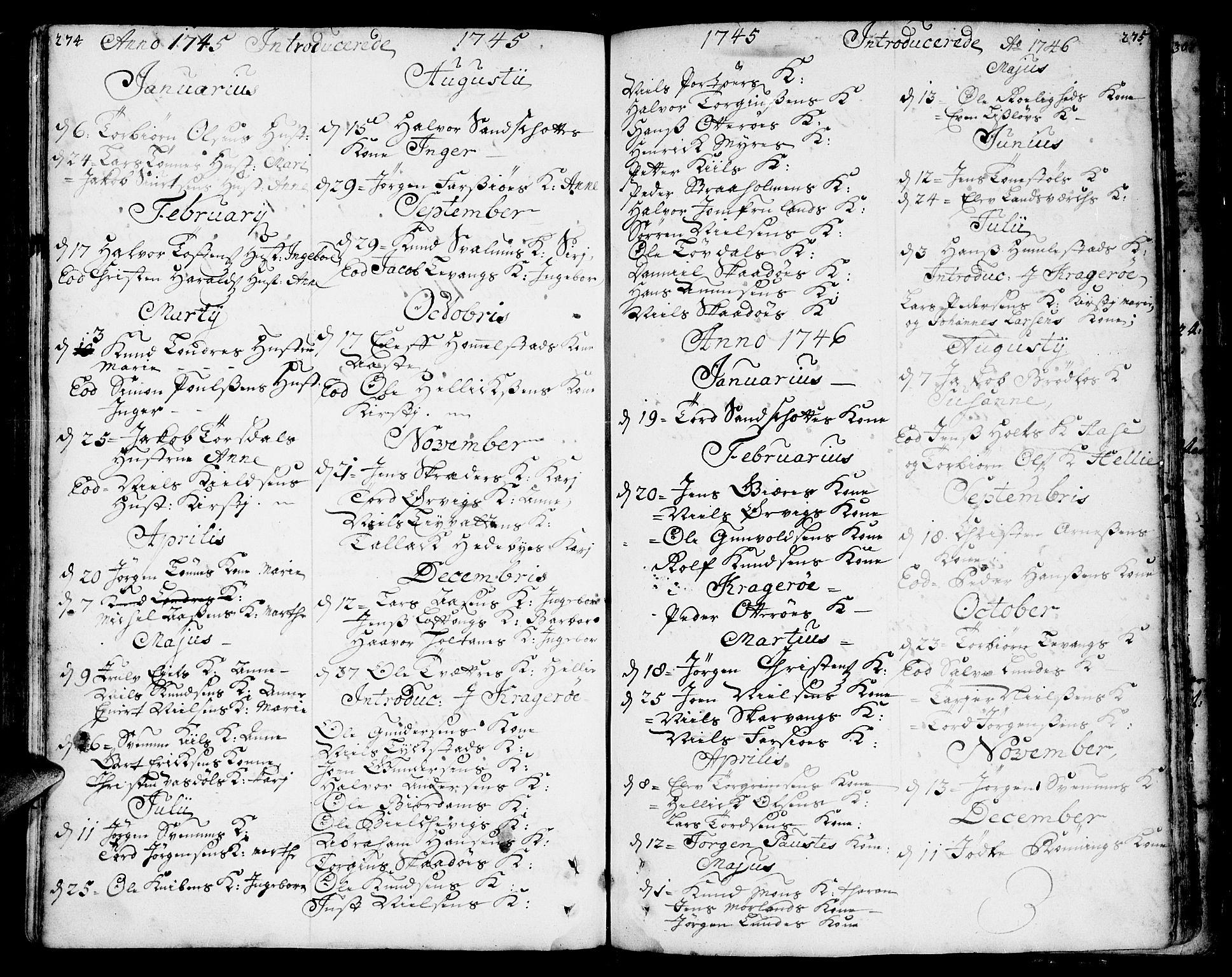 SAKO, Sannidal kirkebøker, F/Fa/L0001: Ministerialbok nr. 1, 1702-1766, s. 274-275