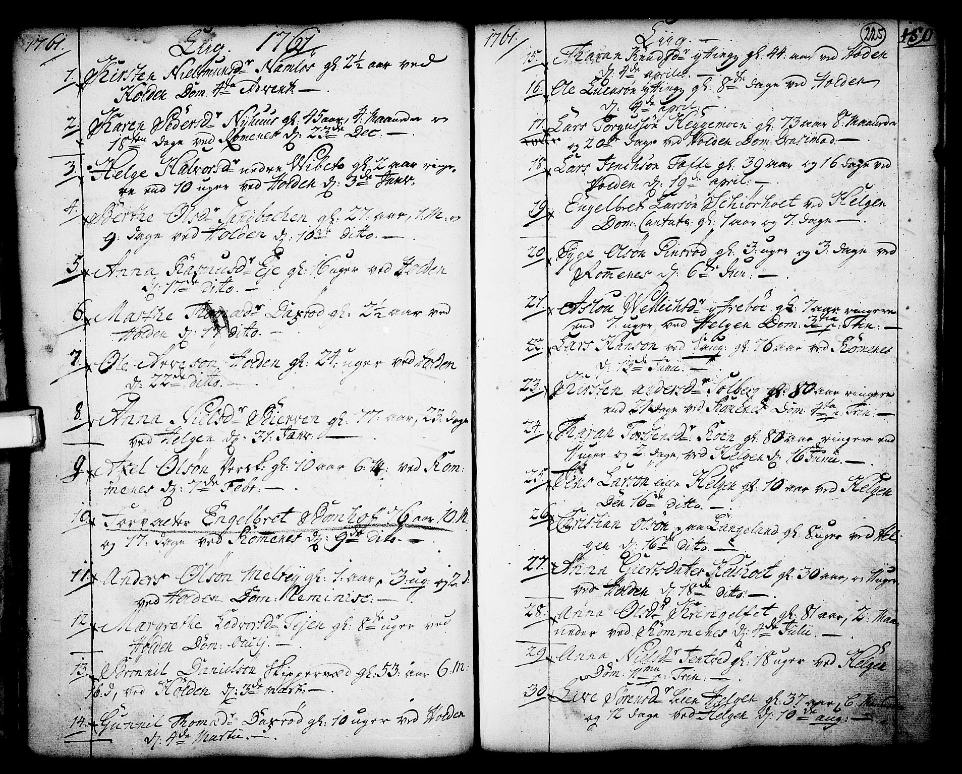 SAKO, Holla kirkebøker, F/Fa/L0001: Ministerialbok nr. 1, 1717-1779, s. 225
