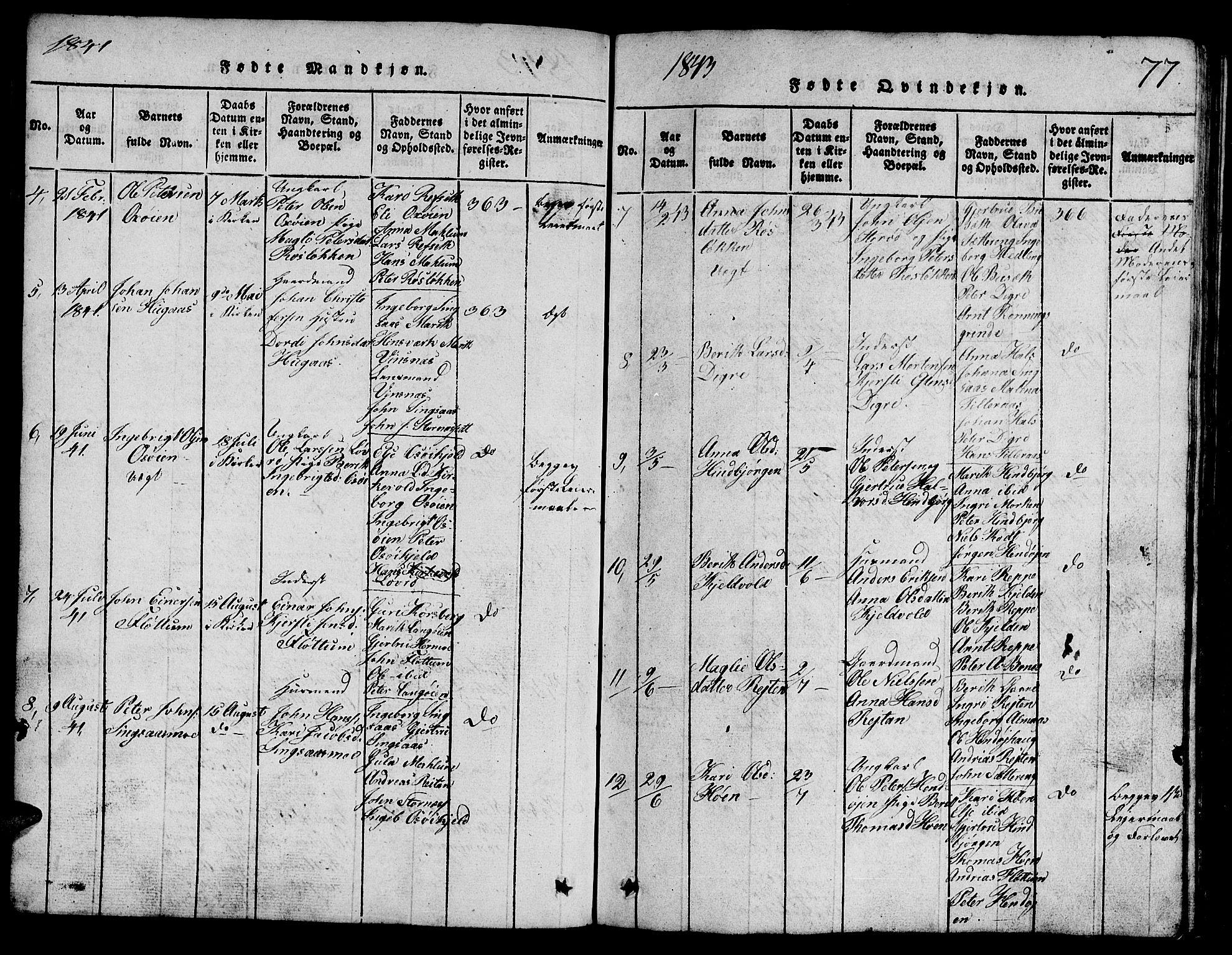 SAT, Ministerialprotokoller, klokkerbøker og fødselsregistre - Sør-Trøndelag, 688/L1026: Klokkerbok nr. 688C01, 1817-1860, s. 77