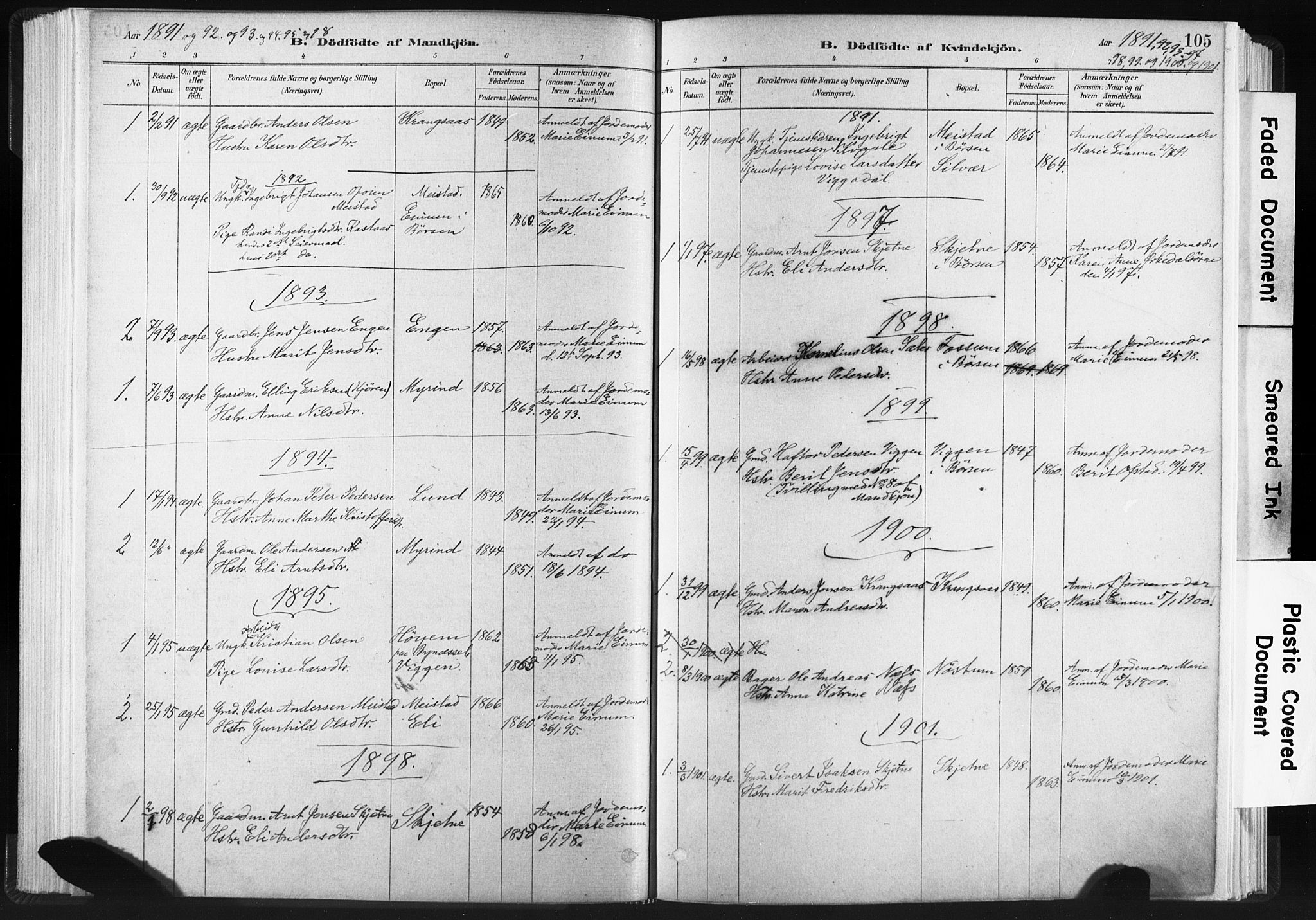 SAT, Ministerialprotokoller, klokkerbøker og fødselsregistre - Sør-Trøndelag, 665/L0773: Ministerialbok nr. 665A08, 1879-1905, s. 105