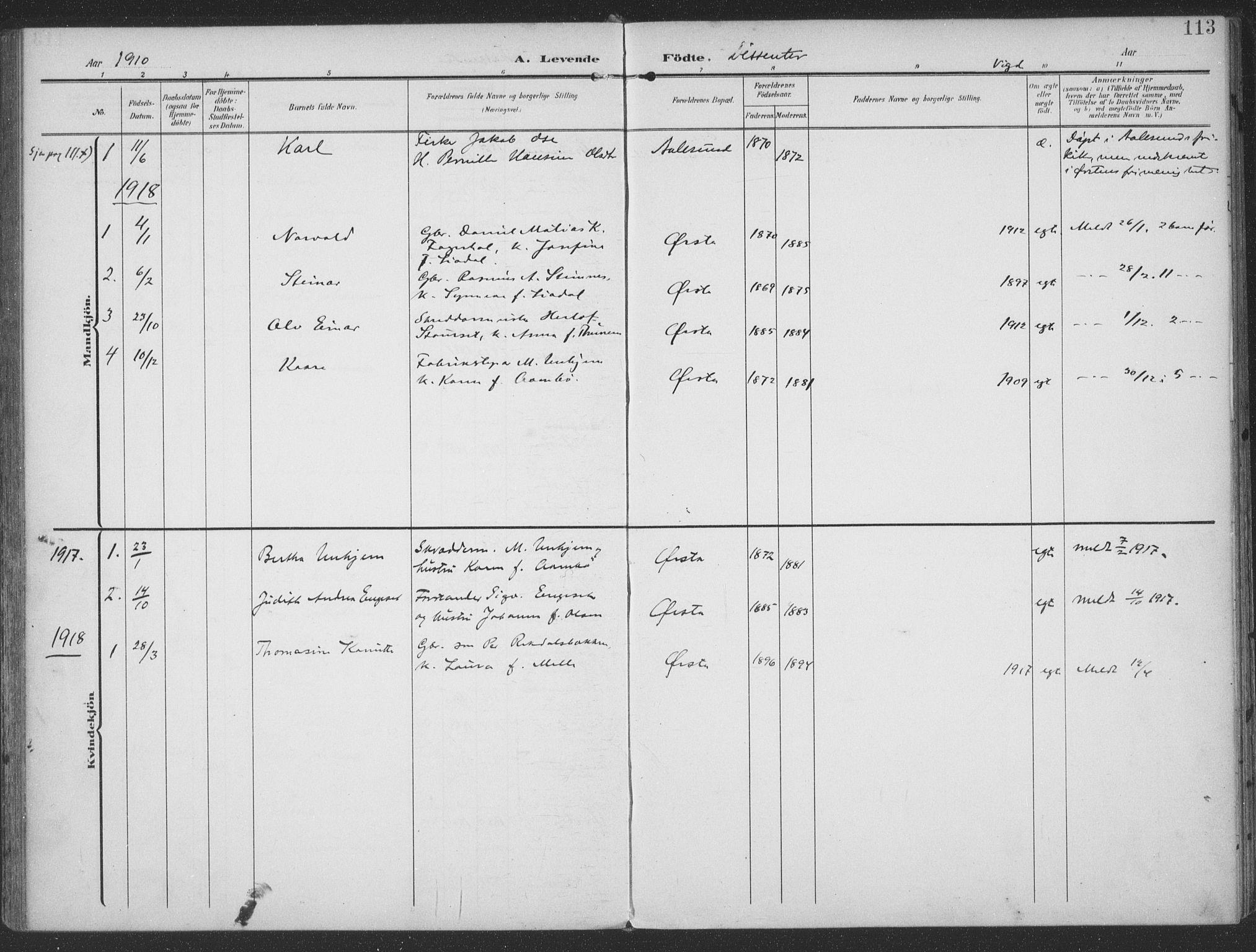 SAT, Ministerialprotokoller, klokkerbøker og fødselsregistre - Møre og Romsdal, 513/L0178: Ministerialbok nr. 513A05, 1906-1919, s. 113