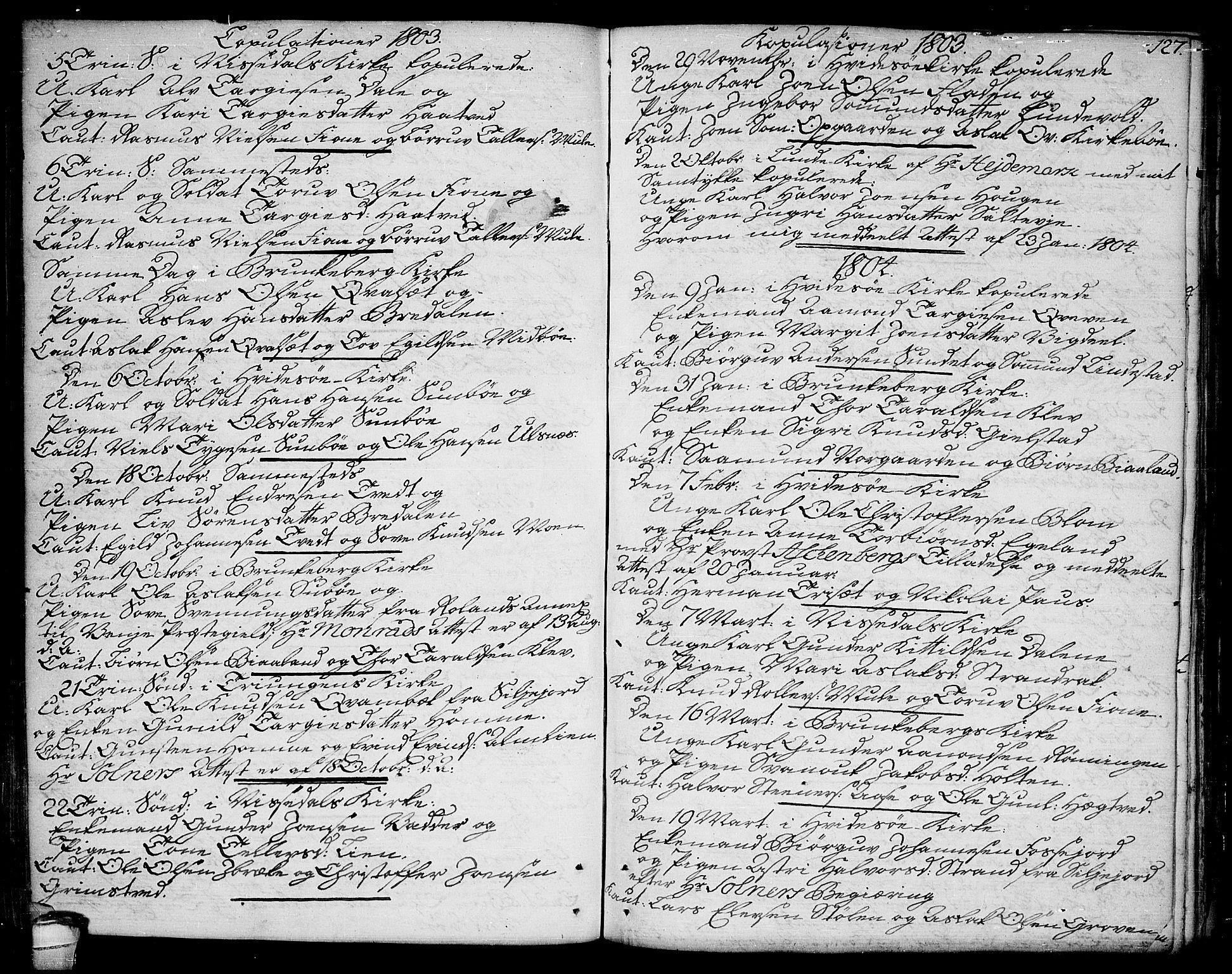 SAKO, Kviteseid kirkebøker, F/Fa/L0004: Ministerialbok nr. I 4, 1800-1814, s. 127