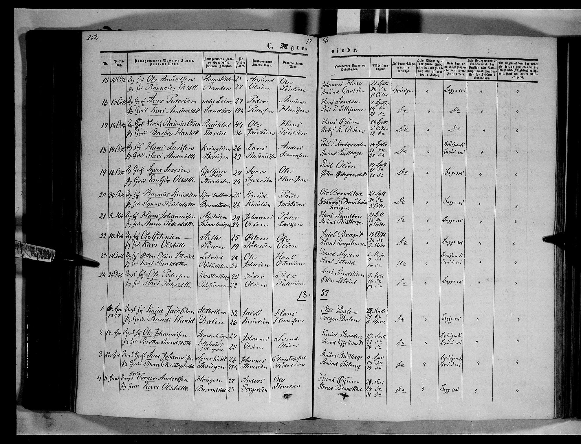 SAH, Nord-Fron prestekontor, Ministerialbok nr. 1, 1851-1864, s. 252