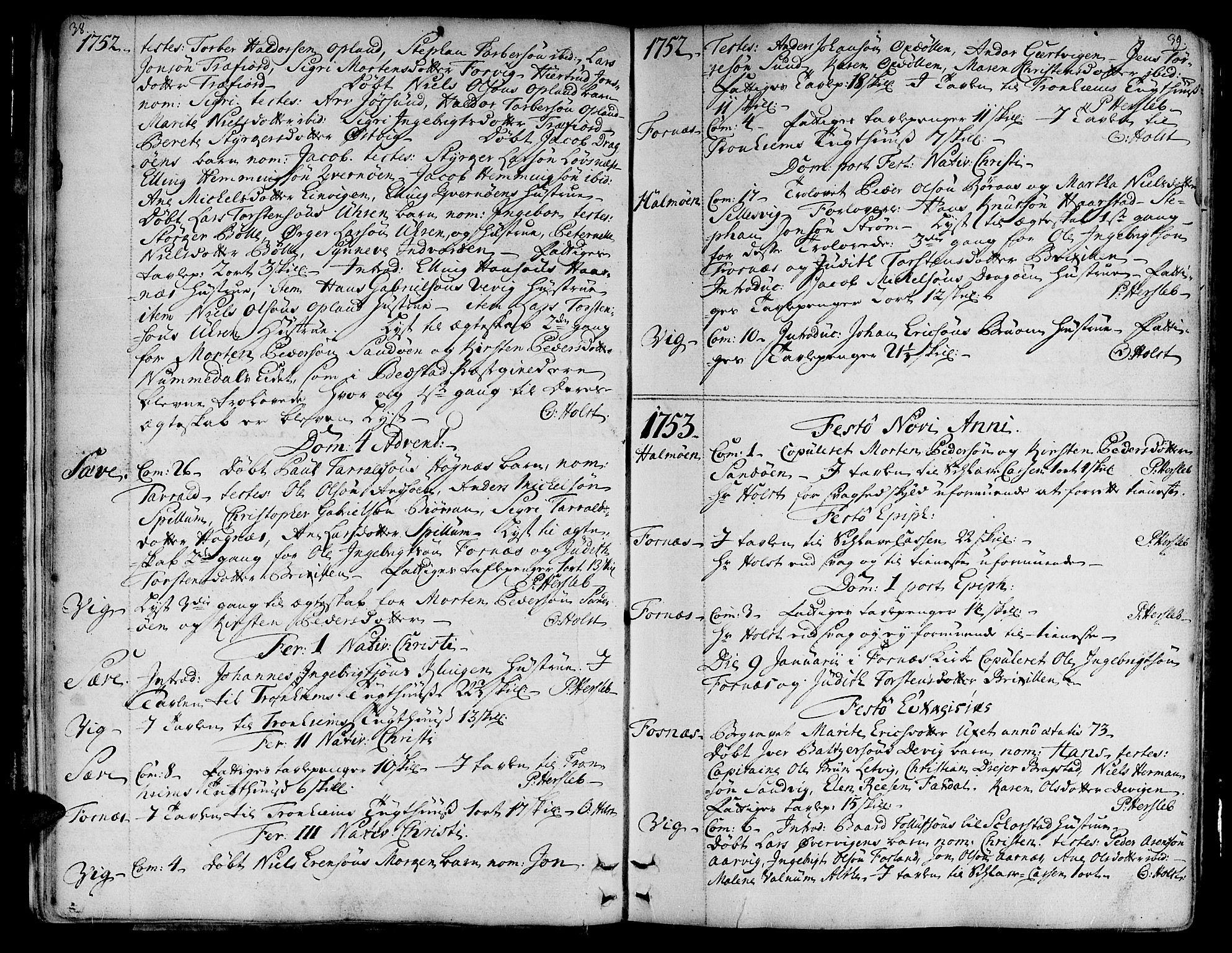 SAT, Ministerialprotokoller, klokkerbøker og fødselsregistre - Nord-Trøndelag, 773/L0607: Ministerialbok nr. 773A01, 1751-1783, s. 38-39