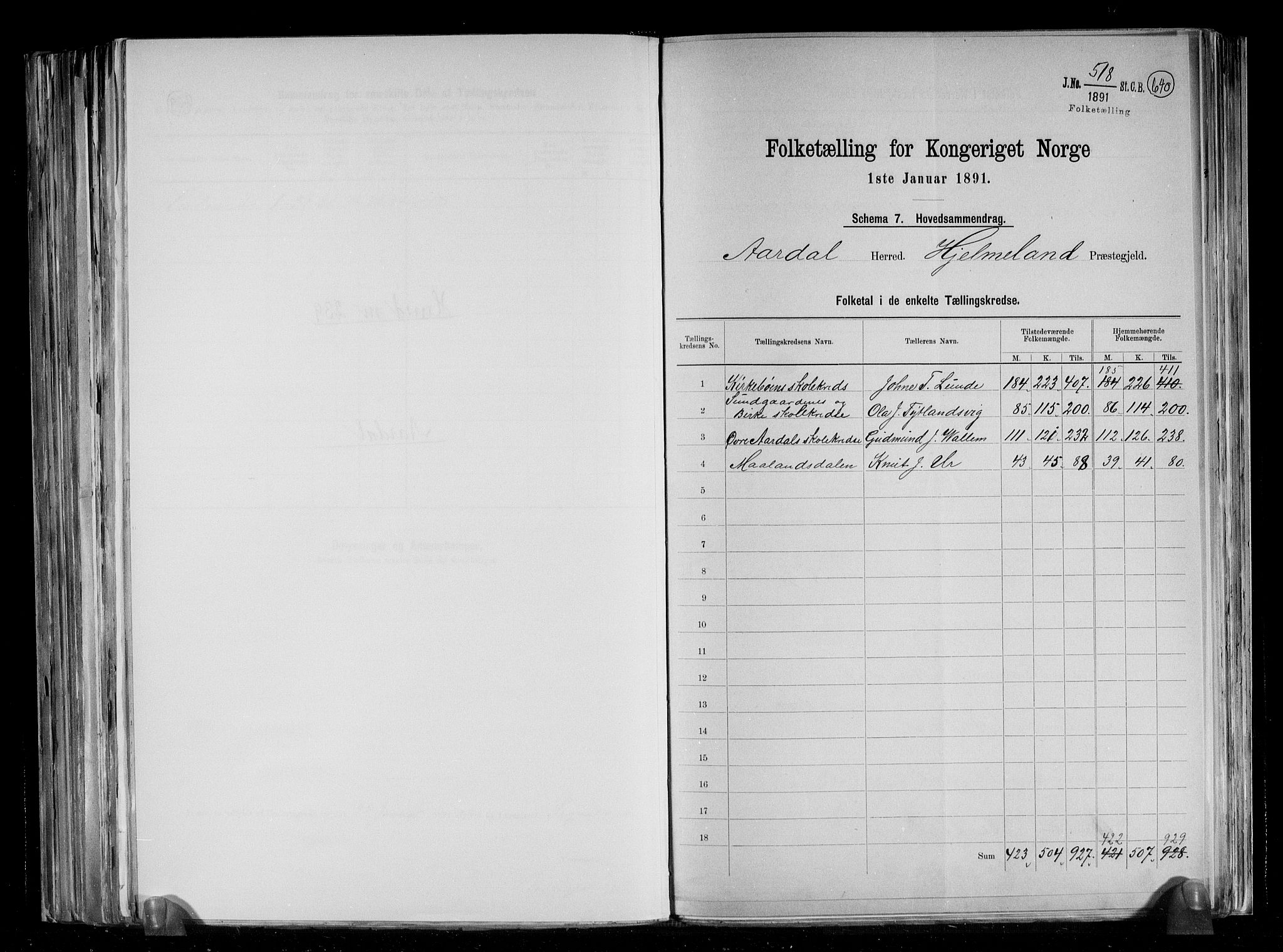RA, Folketelling 1891 for 1131 Årdal herred, 1891, s. 2