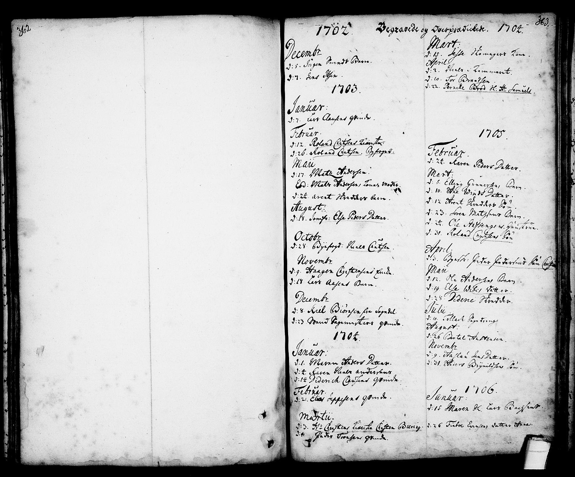 SAKO, Kragerø kirkebøker, F/Fa/L0001: Ministerialbok nr. 1, 1702-1766, s. 362-363