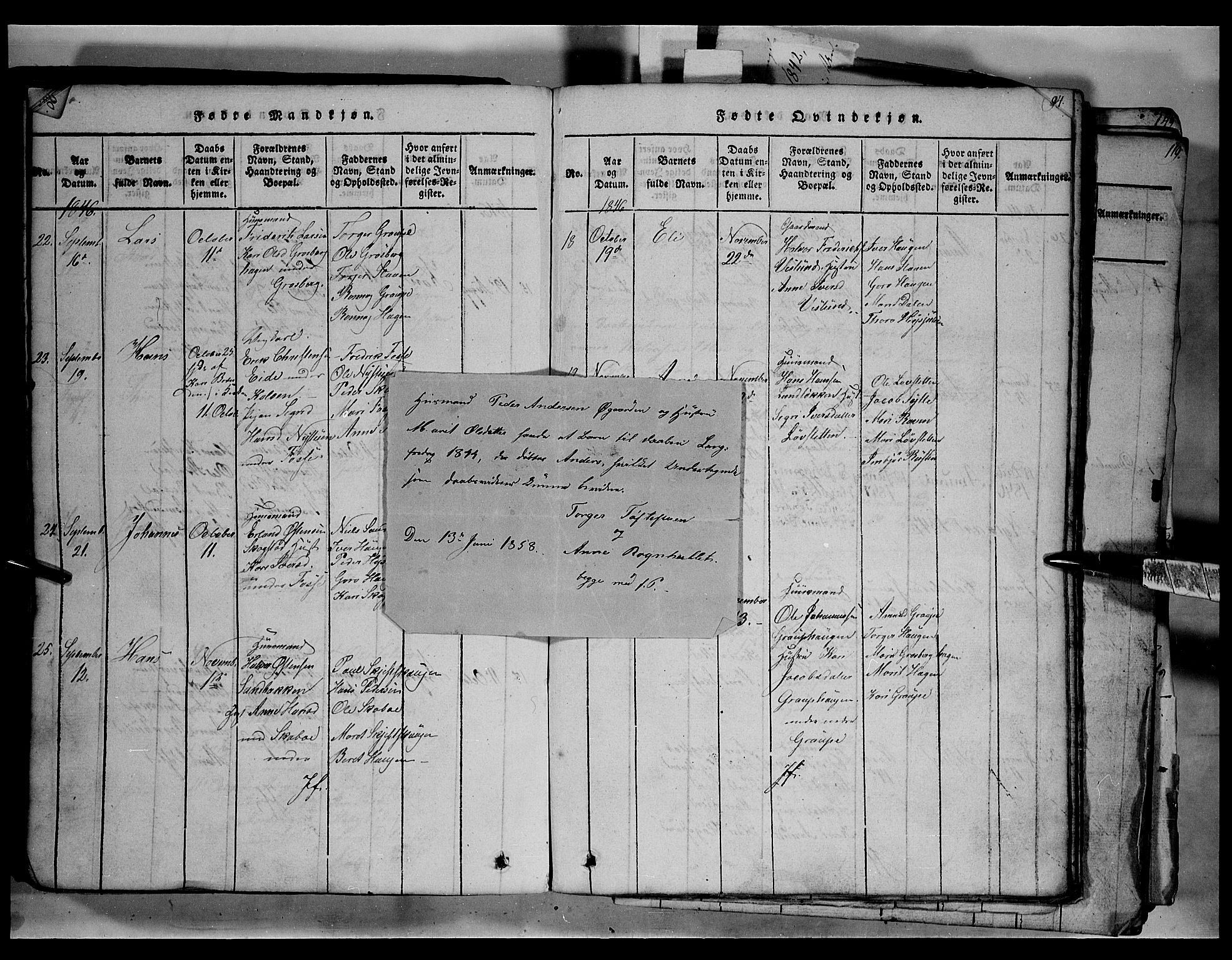 SAH, Fron prestekontor, H/Ha/Hab/L0003: Klokkerbok nr. 3, 1816-1850, s. 91