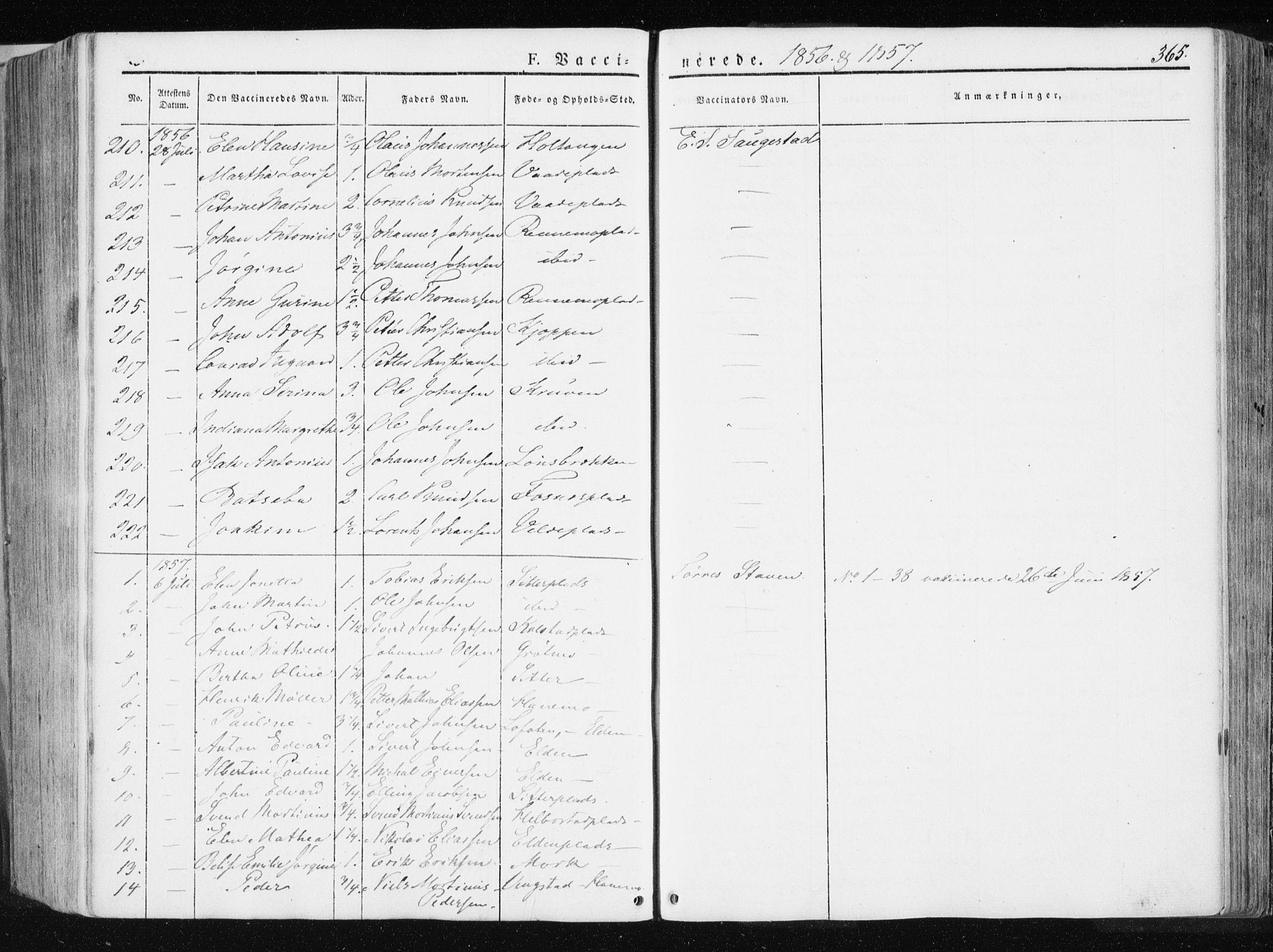 SAT, Ministerialprotokoller, klokkerbøker og fødselsregistre - Nord-Trøndelag, 741/L0393: Ministerialbok nr. 741A07, 1849-1863, s. 365