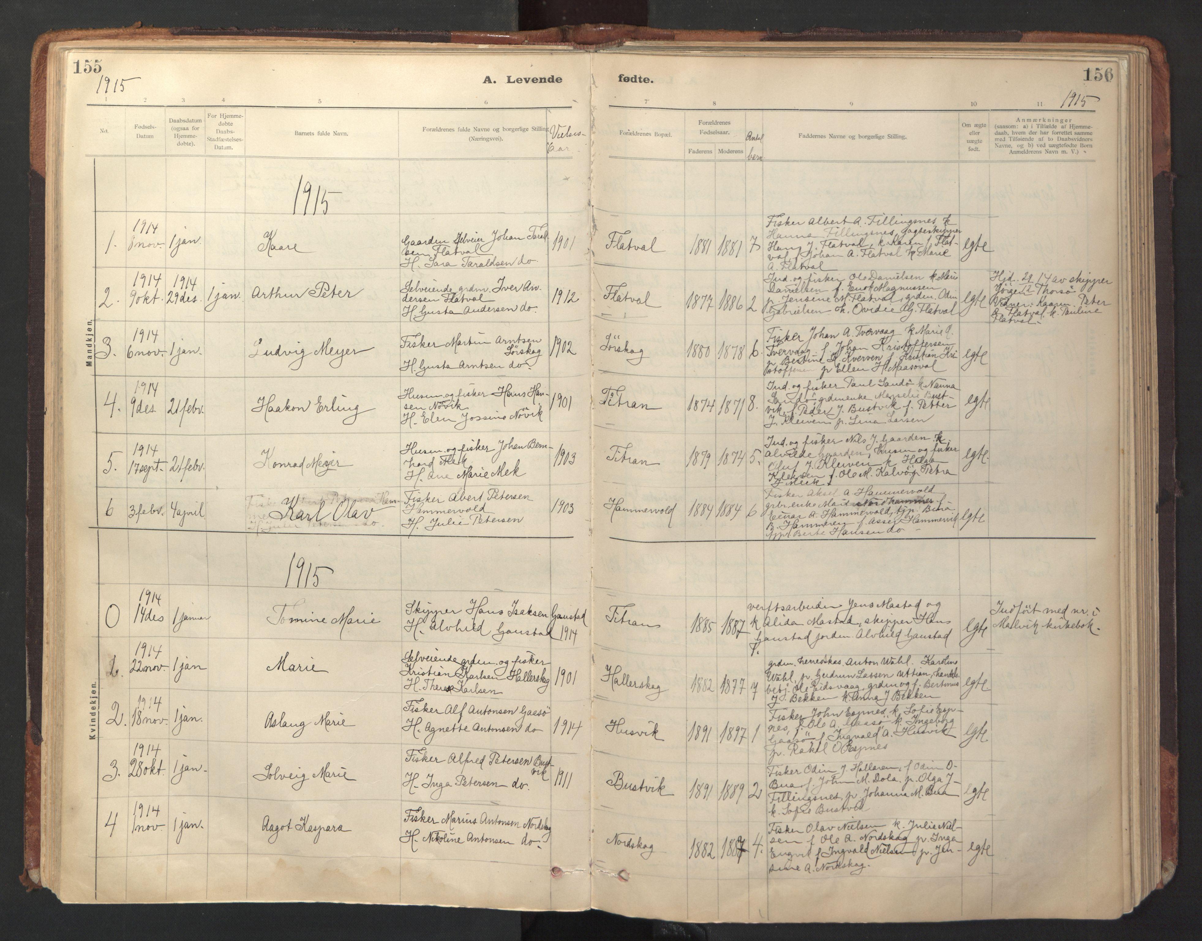 SAT, Ministerialprotokoller, klokkerbøker og fødselsregistre - Sør-Trøndelag, 641/L0596: Ministerialbok nr. 641A02, 1898-1915, s. 155-156