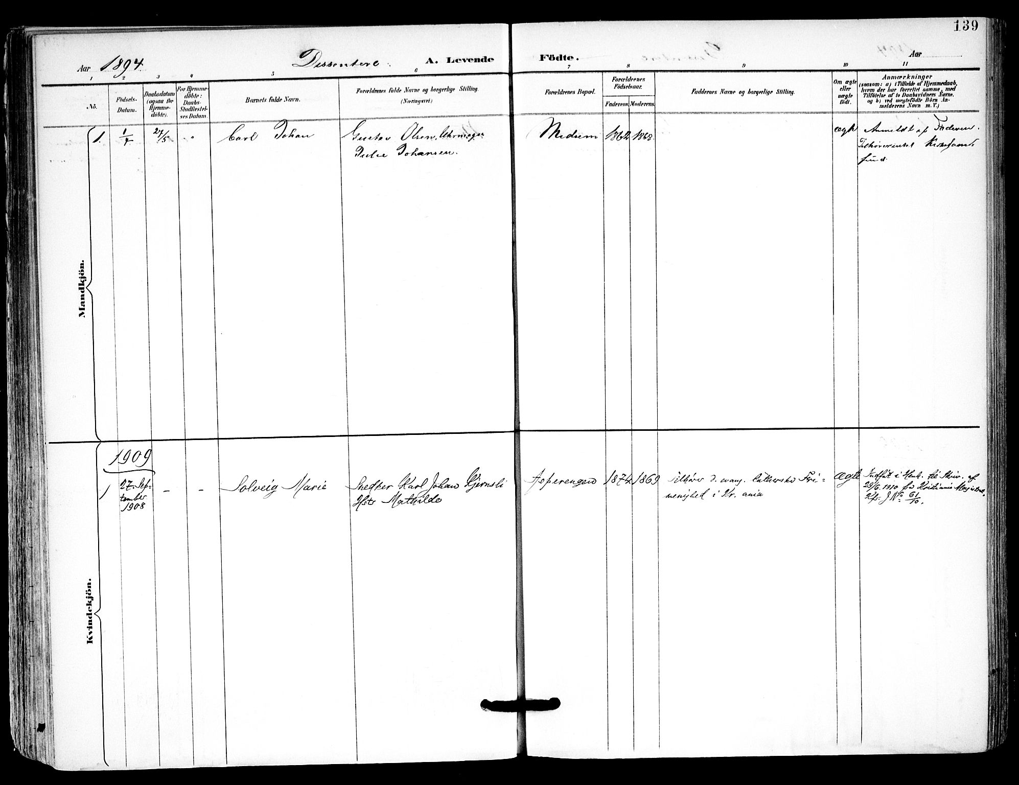 SAO, Kråkstad prestekontor Kirkebøker, F/Fa/L0010: Ministerialbok nr. I 10, 1893-1931, s. 139