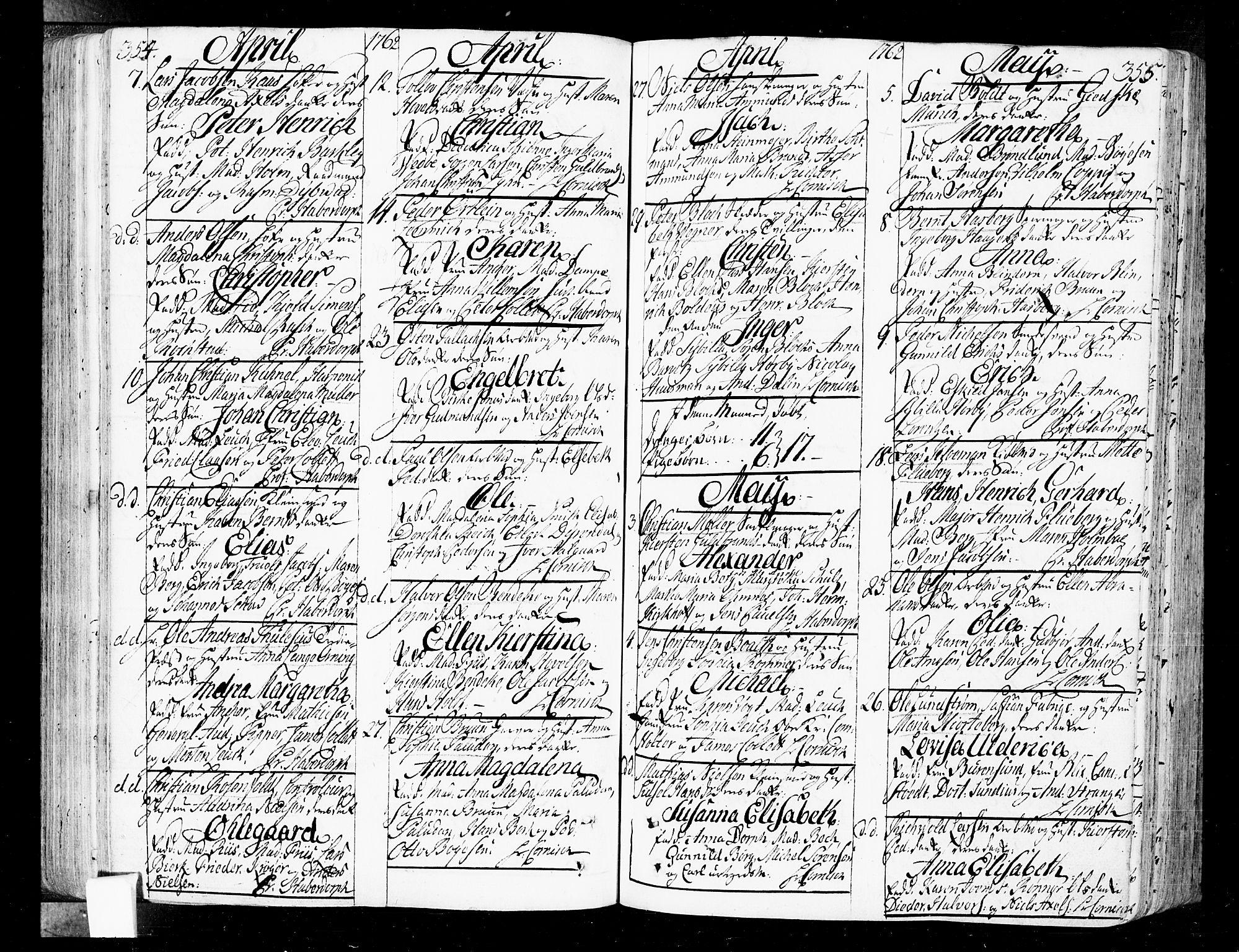 SAO, Oslo domkirke Kirkebøker, F/Fa/L0004: Ministerialbok nr. 4, 1743-1786, s. 354-355
