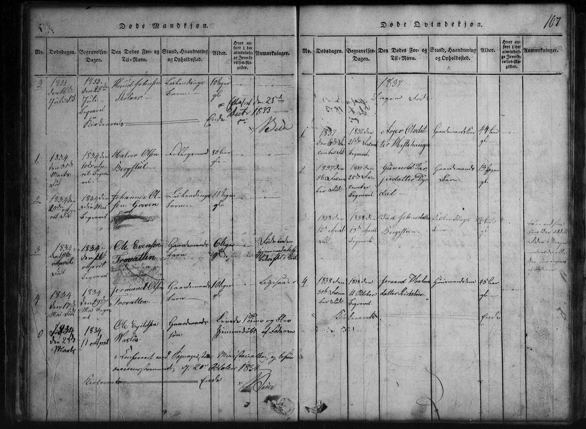 SAKO, Rauland kirkebøker, G/Gb/L0001: Klokkerbok nr. II 1, 1815-1886, s. 107