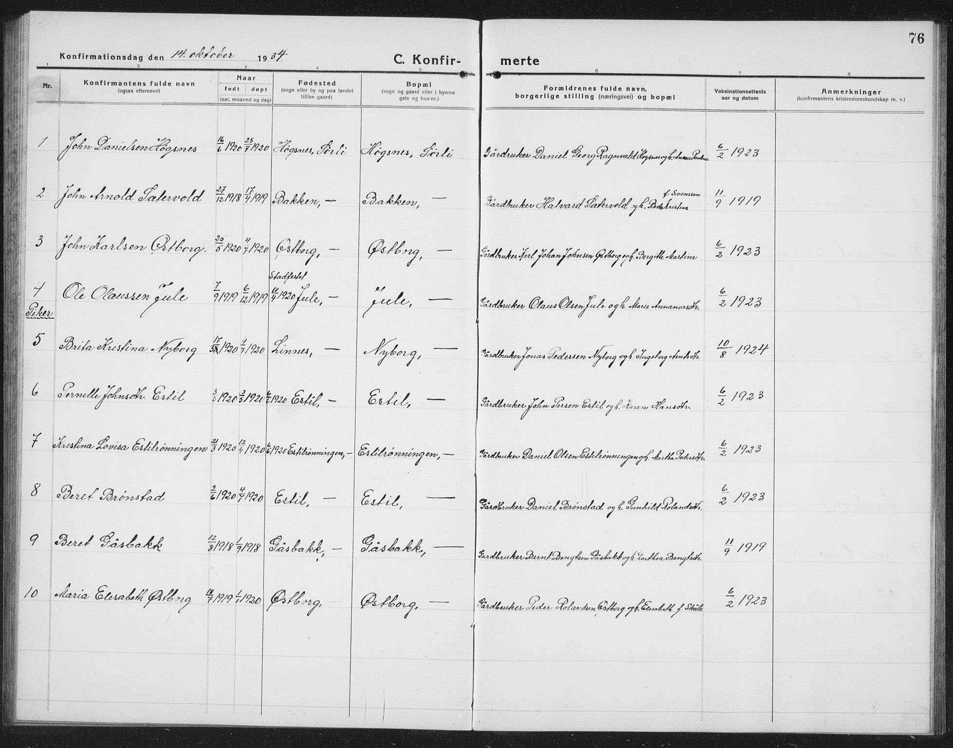 SAT, Ministerialprotokoller, klokkerbøker og fødselsregistre - Nord-Trøndelag, 757/L0507: Klokkerbok nr. 757C02, 1923-1939, s. 76