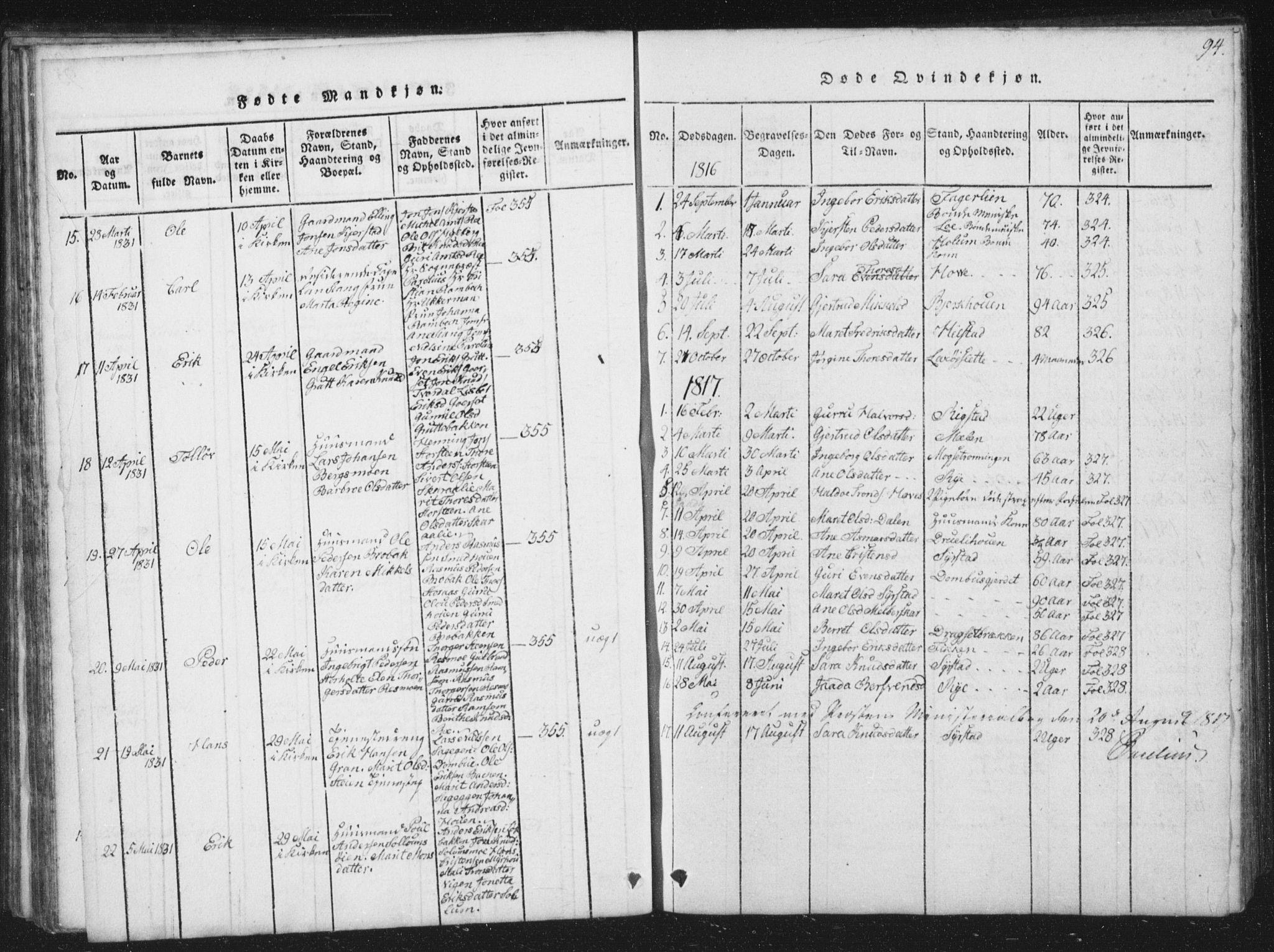 SAT, Ministerialprotokoller, klokkerbøker og fødselsregistre - Sør-Trøndelag, 672/L0862: Klokkerbok nr. 672C01, 1816-1831, s. 94