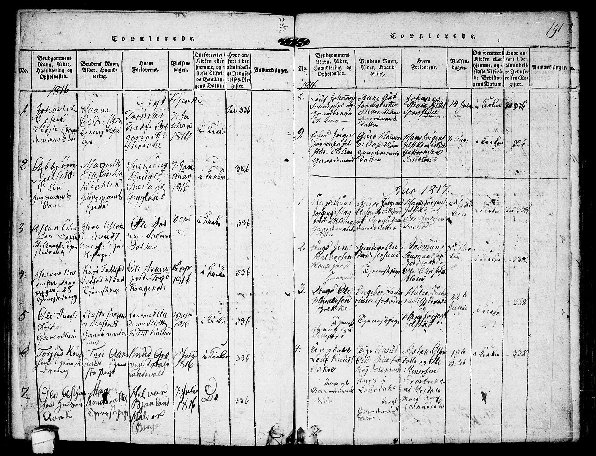 SAKO, Kviteseid kirkebøker, F/Fb/L0001: Ministerialbok nr. II 1, 1815-1836, s. 191
