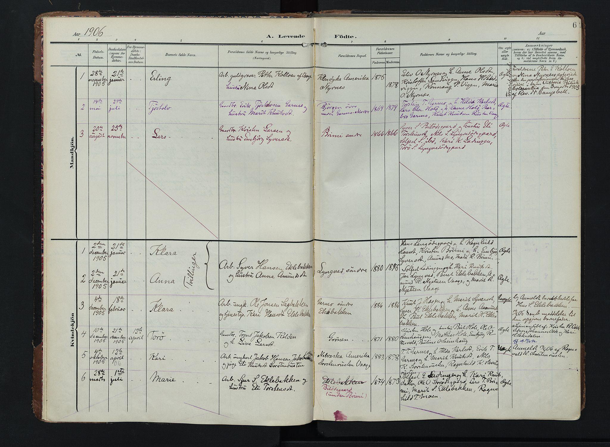 SAH, Lom prestekontor, K/L0011: Ministerialbok nr. 11, 1904-1928, s. 6