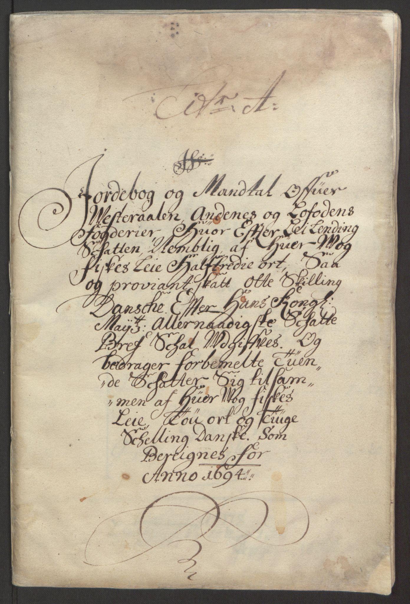 RA, Rentekammeret inntil 1814, Reviderte regnskaper, Fogderegnskap, R67/L4677: Fogderegnskap Vesterålen, Andenes og Lofoten, 1694-1695, s. 15