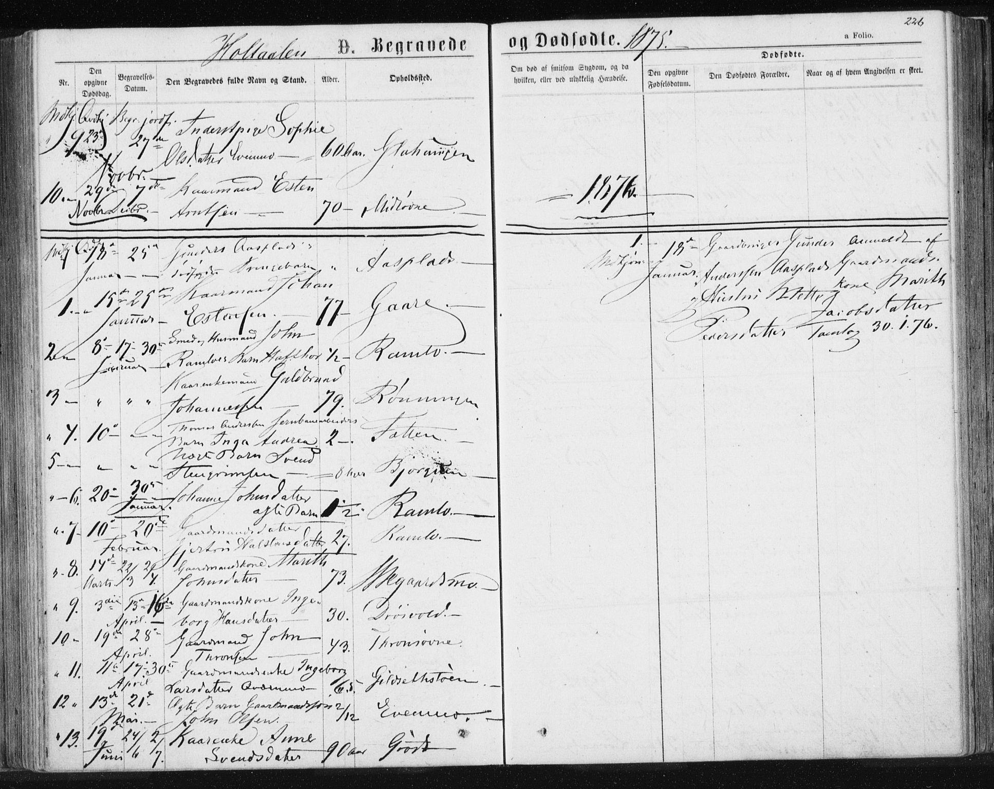 SAT, Ministerialprotokoller, klokkerbøker og fødselsregistre - Sør-Trøndelag, 685/L0969: Ministerialbok nr. 685A08 /1, 1870-1878, s. 226