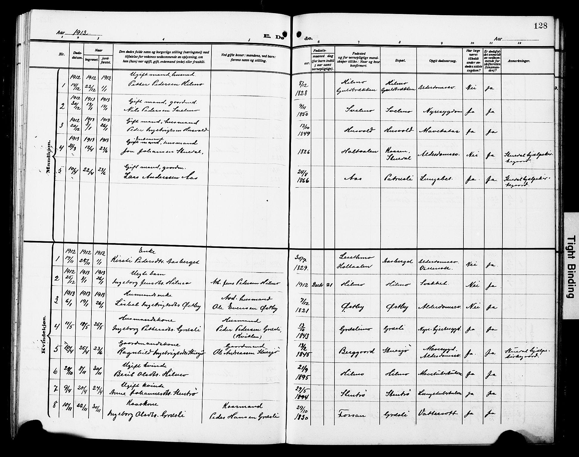 SAT, Ministerialprotokoller, klokkerbøker og fødselsregistre - Sør-Trøndelag, 698/L1168: Klokkerbok nr. 698C05, 1908-1930, s. 128