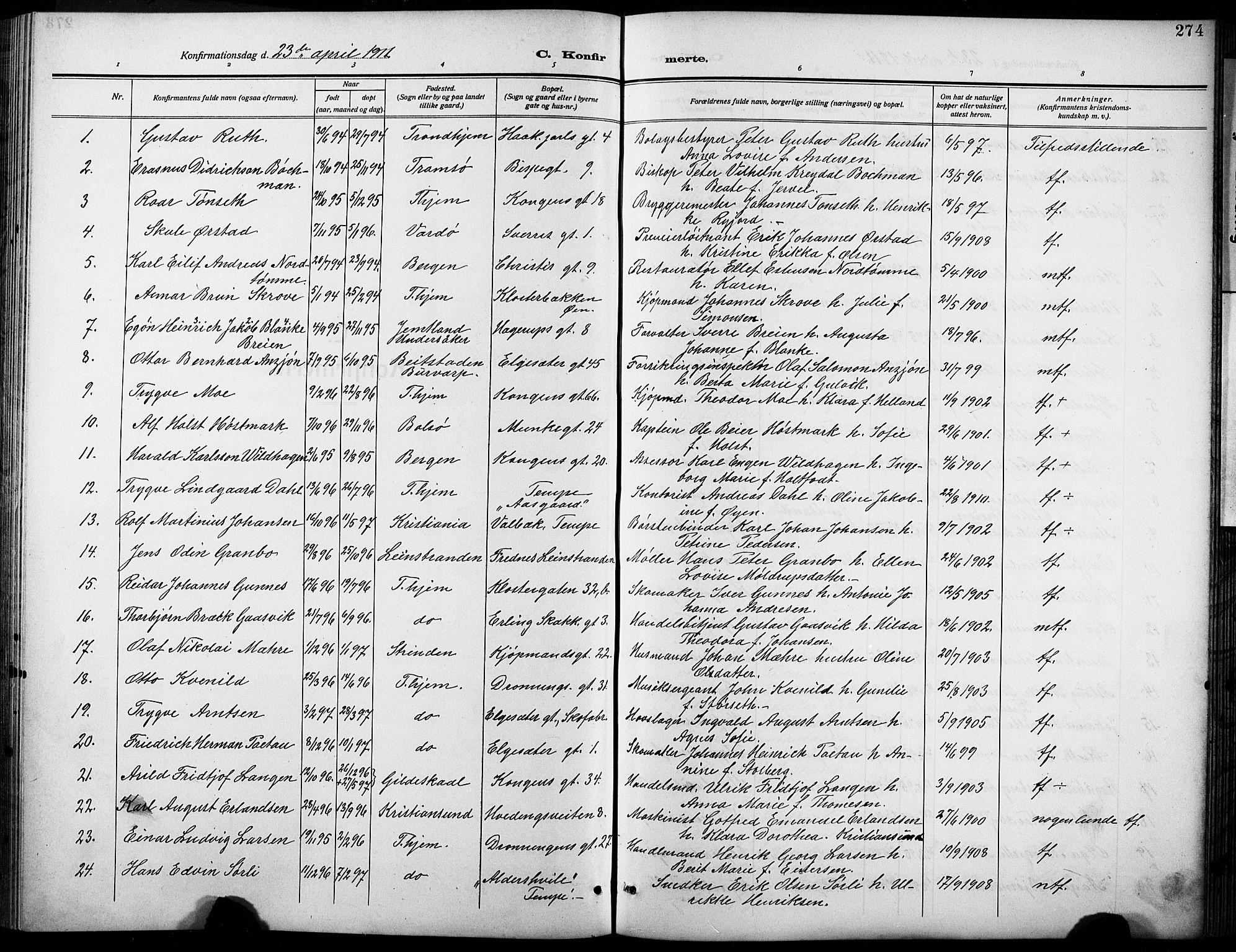 SAT, Ministerialprotokoller, klokkerbøker og fødselsregistre - Sør-Trøndelag, 601/L0096: Klokkerbok nr. 601C14, 1911-1931, s. 274