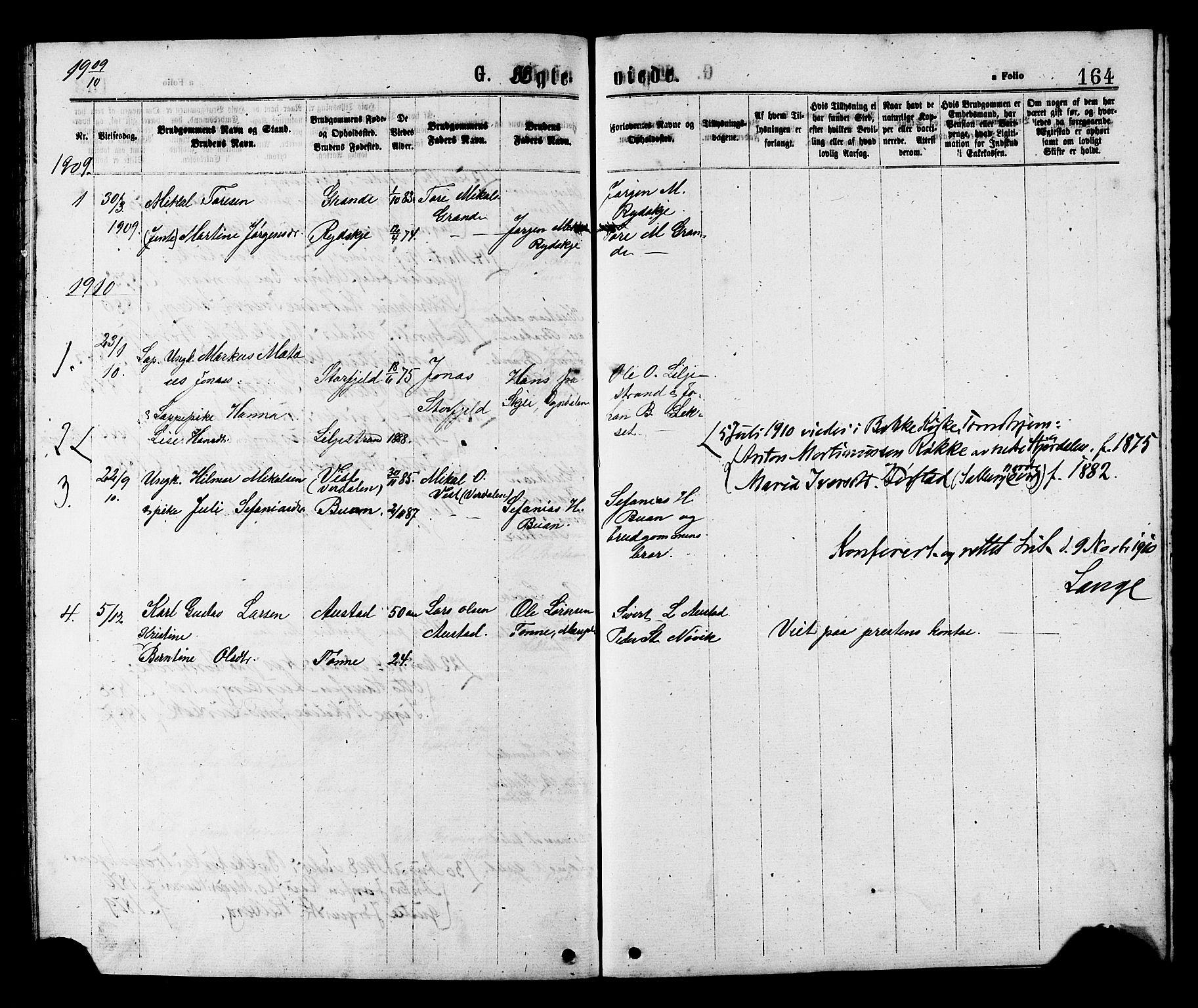 SAT, Ministerialprotokoller, klokkerbøker og fødselsregistre - Nord-Trøndelag, 731/L0311: Klokkerbok nr. 731C02, 1875-1911, s. 164